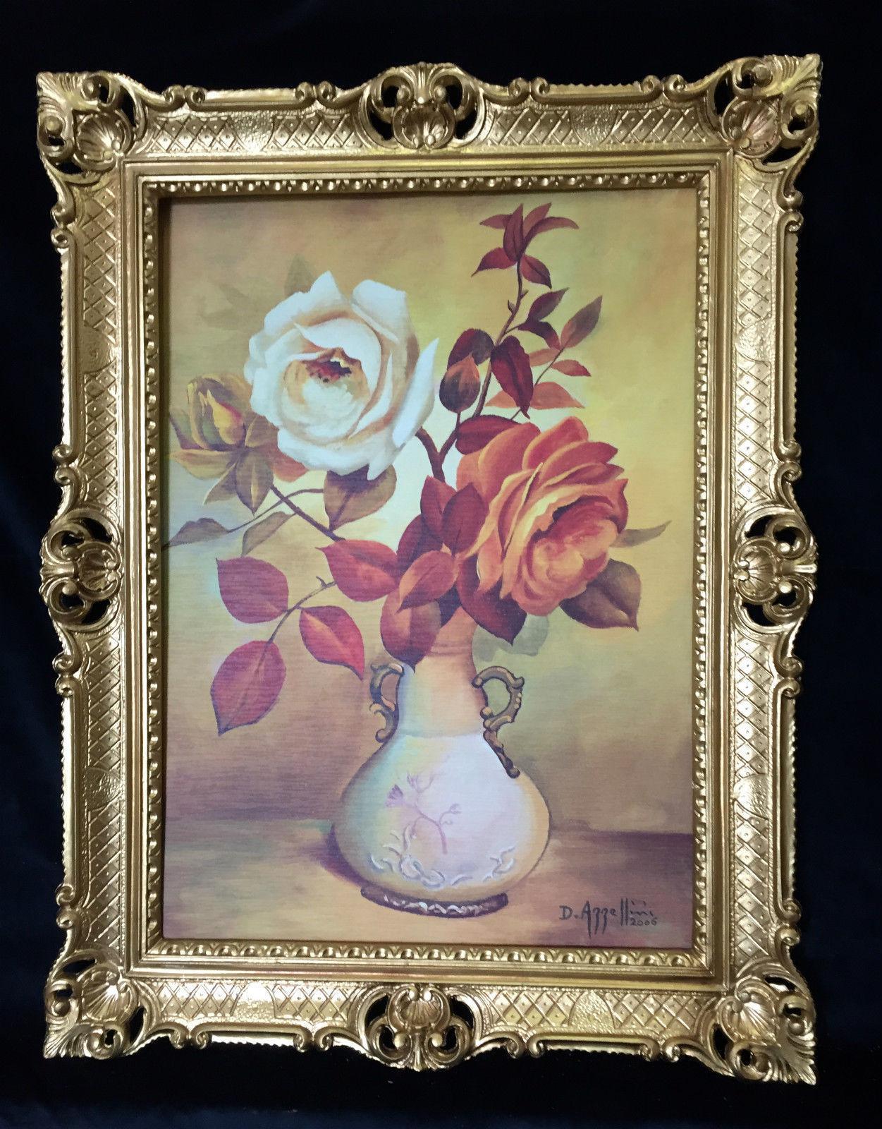BLUMEN Rosen Bild 90 x 70 Bild mit Rahmen Rosen in Vase Gemälde ...