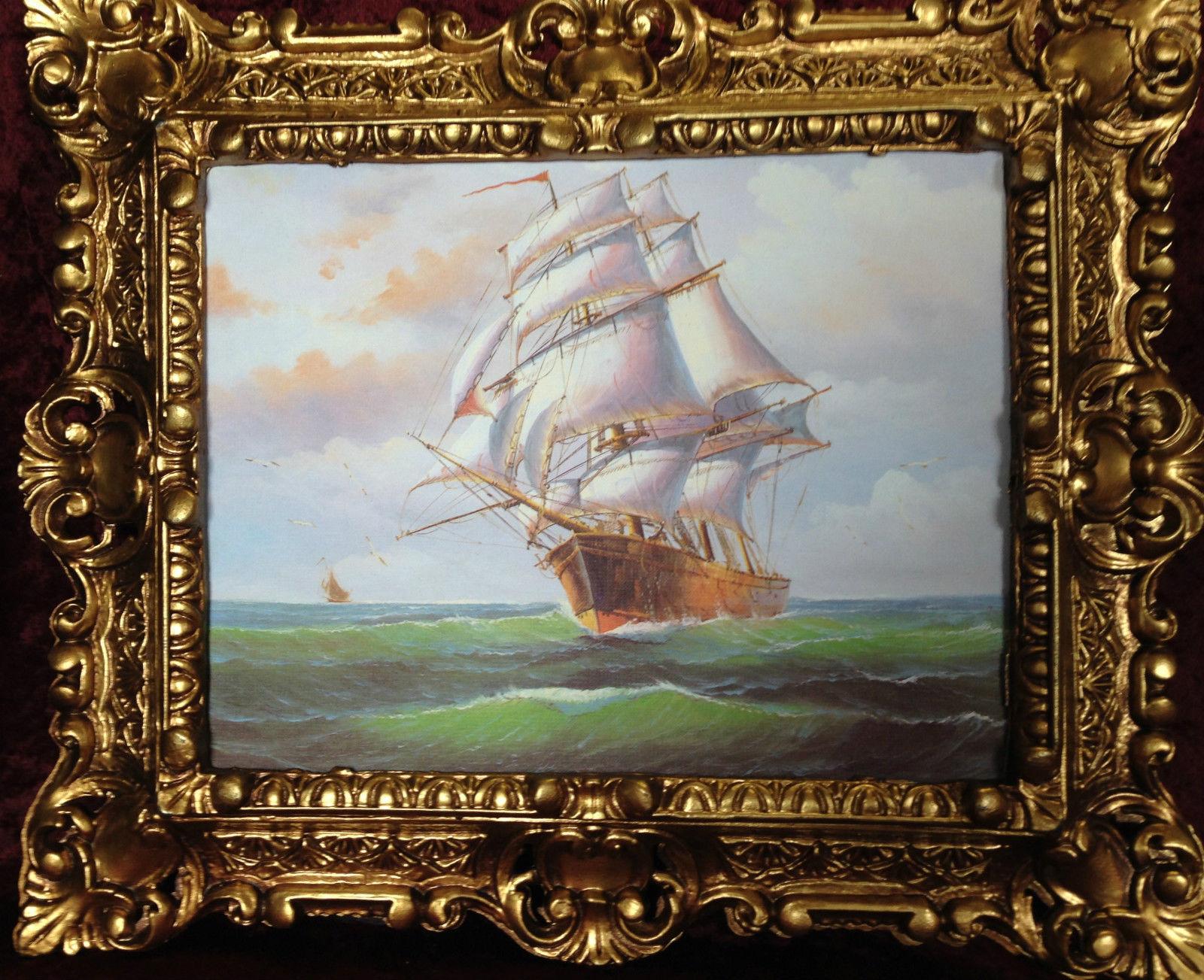 gem lde schiff meer maritime schiffe 45x38 segelschiff h her see bild mit rahmen kaufen bei. Black Bedroom Furniture Sets. Home Design Ideas
