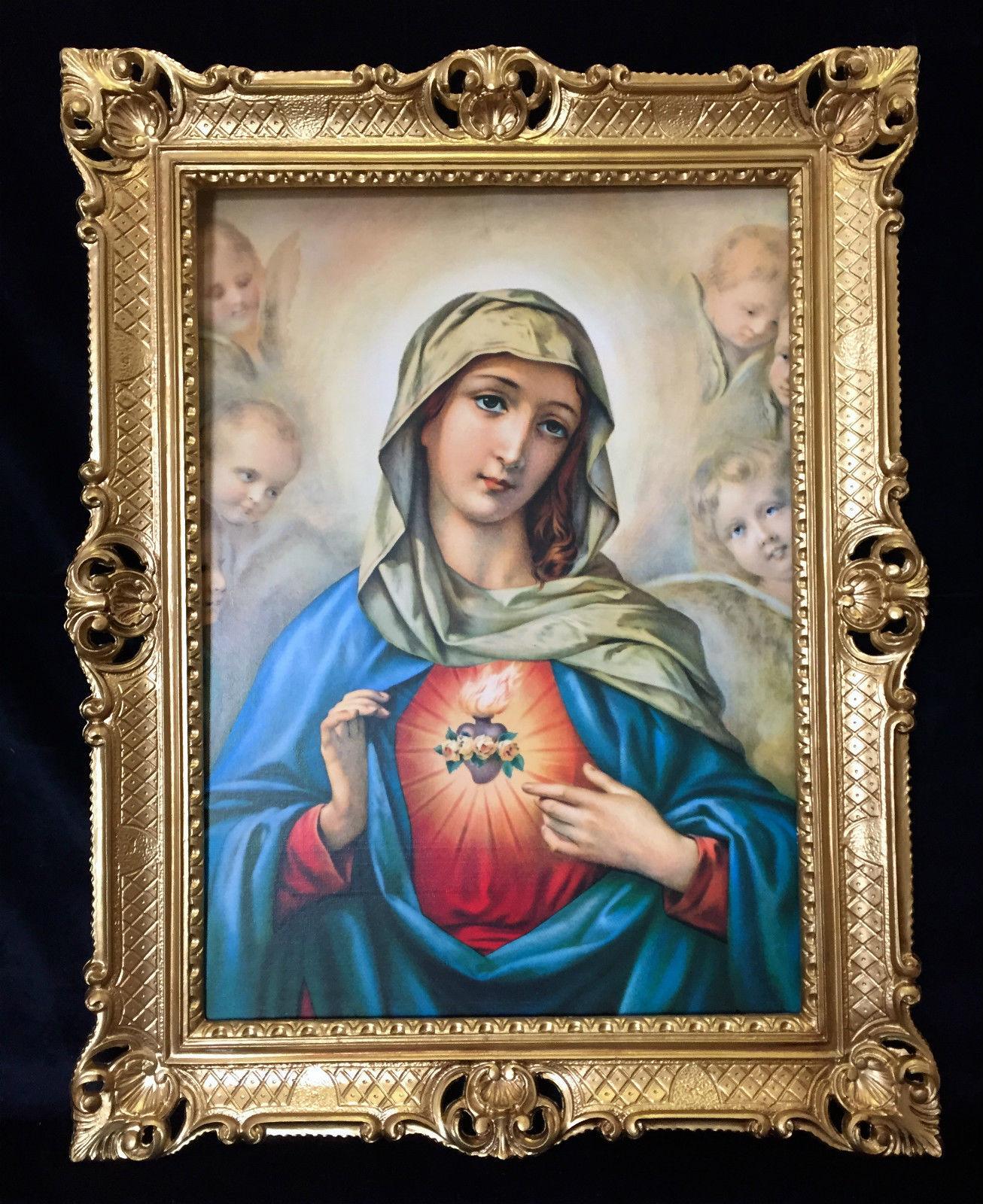 Maria bild religi se heiligen bild madonna gerahmte for Spiegel 70x90