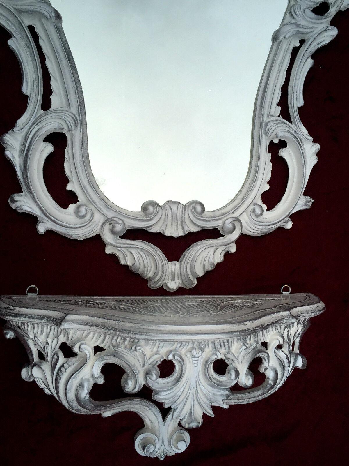 Antik Wandspiegel Mit Wandkonsole Spiegel 50x76 Antik Barock Spiegelablage Weiß Konsolen Kleinmöbel & Raumaccessoires