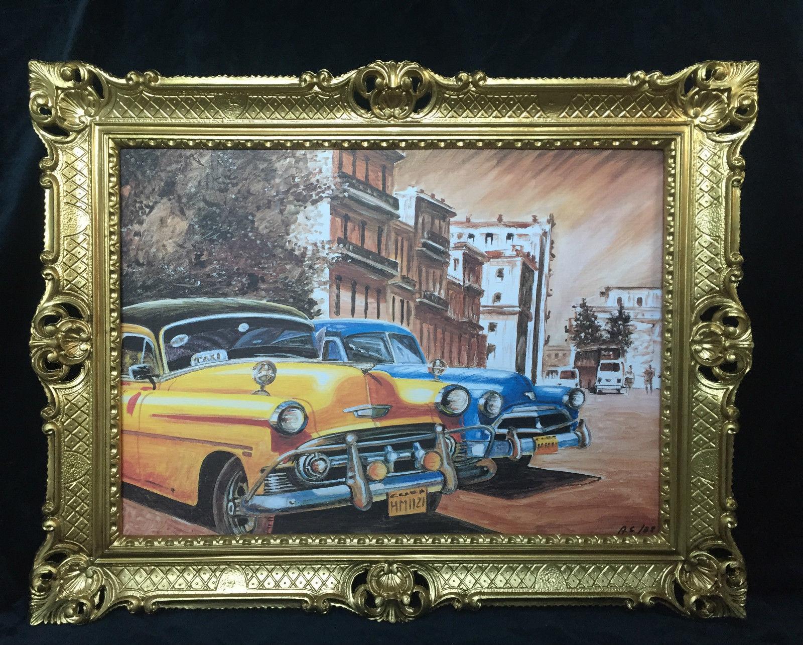 Auto Cuba Gelb Blau Bild Rahmen Wandbild 70x90 Oldtimer Classic ...