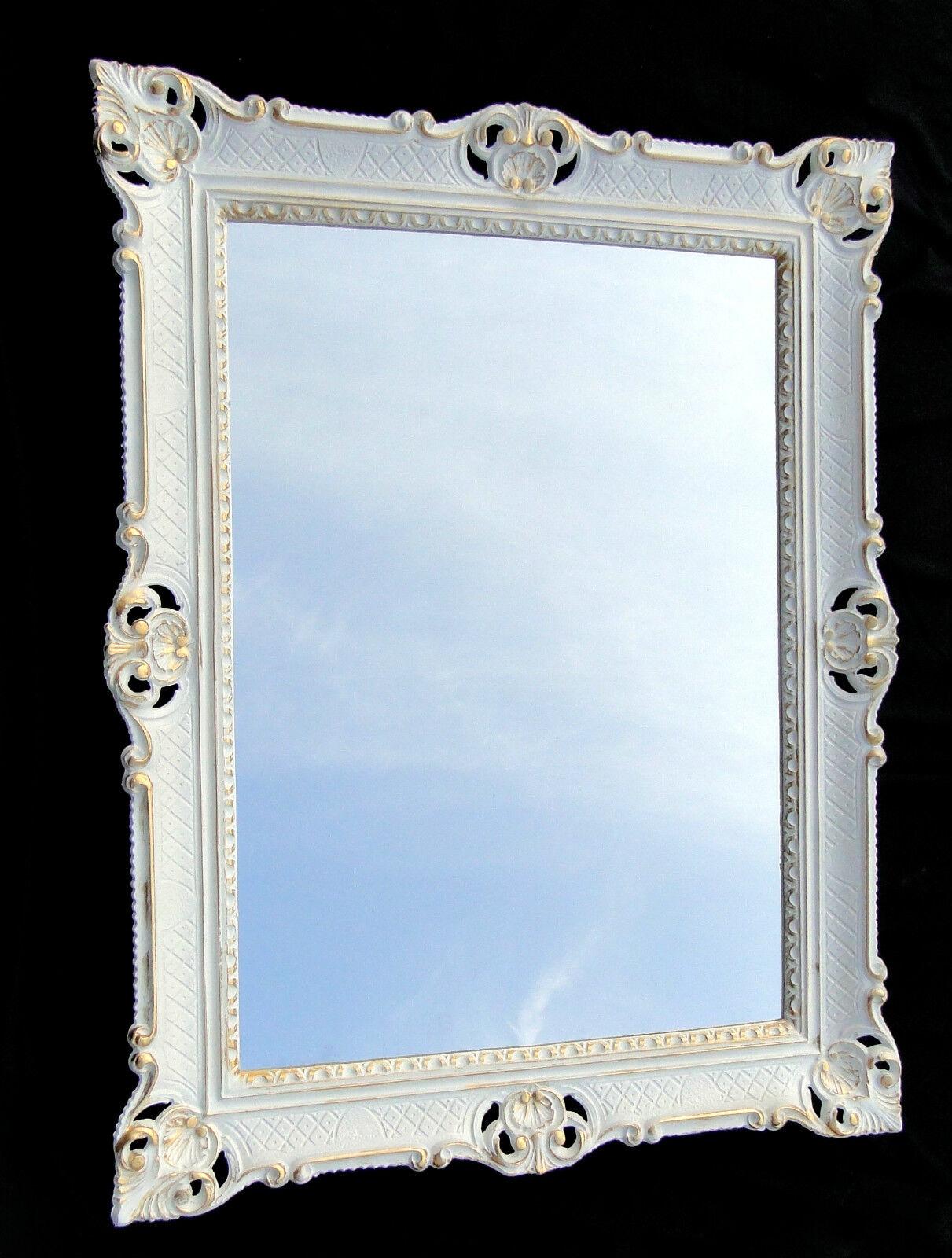 XXL Wandspiegel weiß Silber 180x80  weiß Friseurspiegel Flur Spiegel Groß