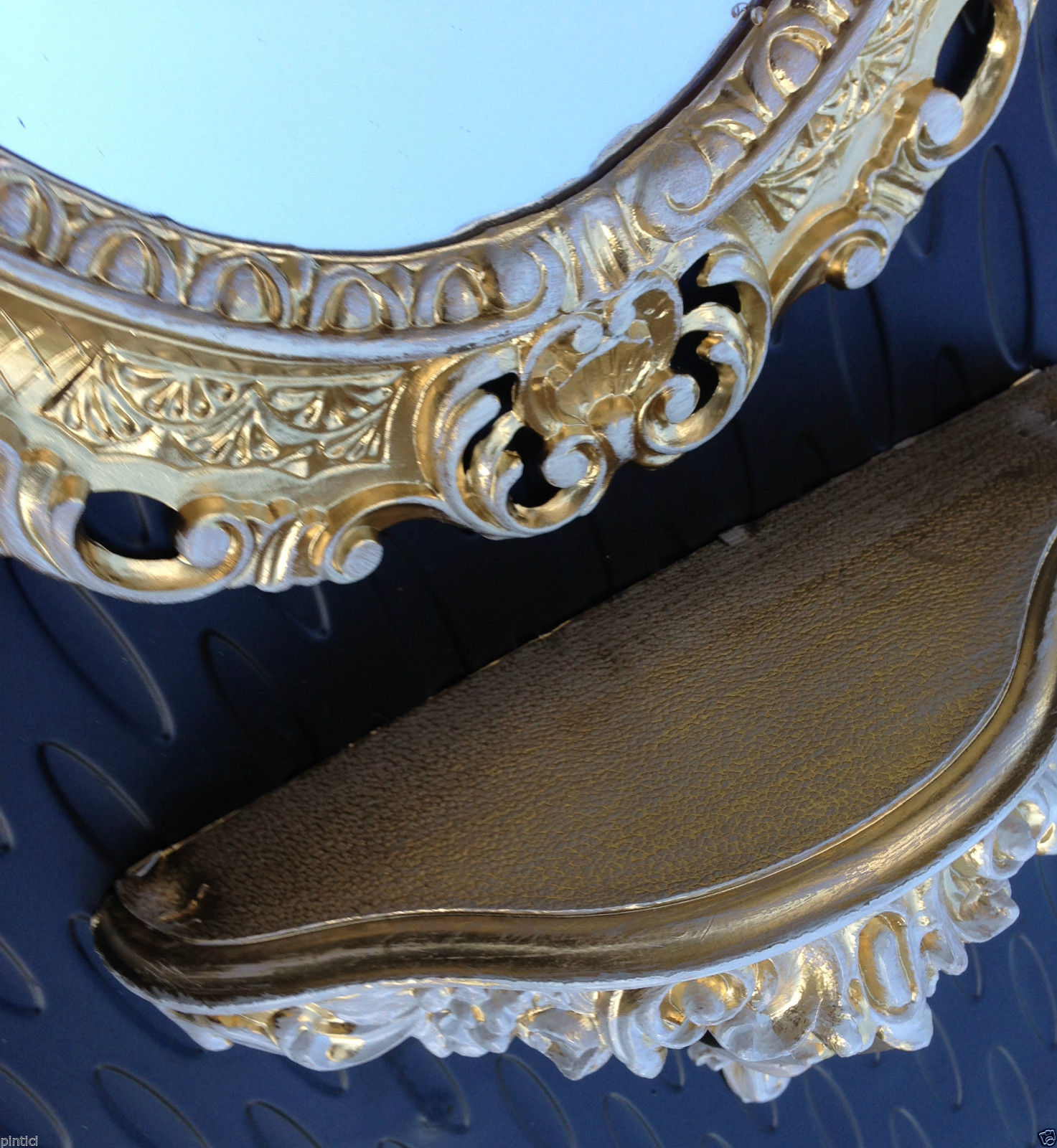 wandspiegel mit ablage konsole regal m gold wei ovaler. Black Bedroom Furniture Sets. Home Design Ideas