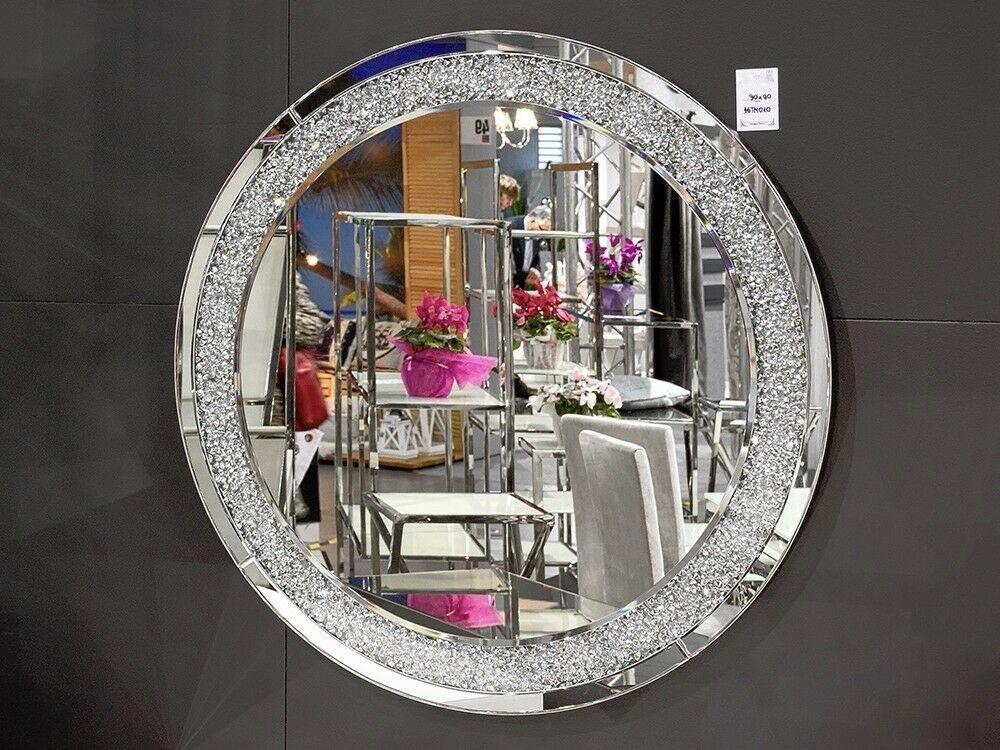 Wandspiegel Modern wandspiegel glas mit strassstein rund 90cm modern friseurspiegel