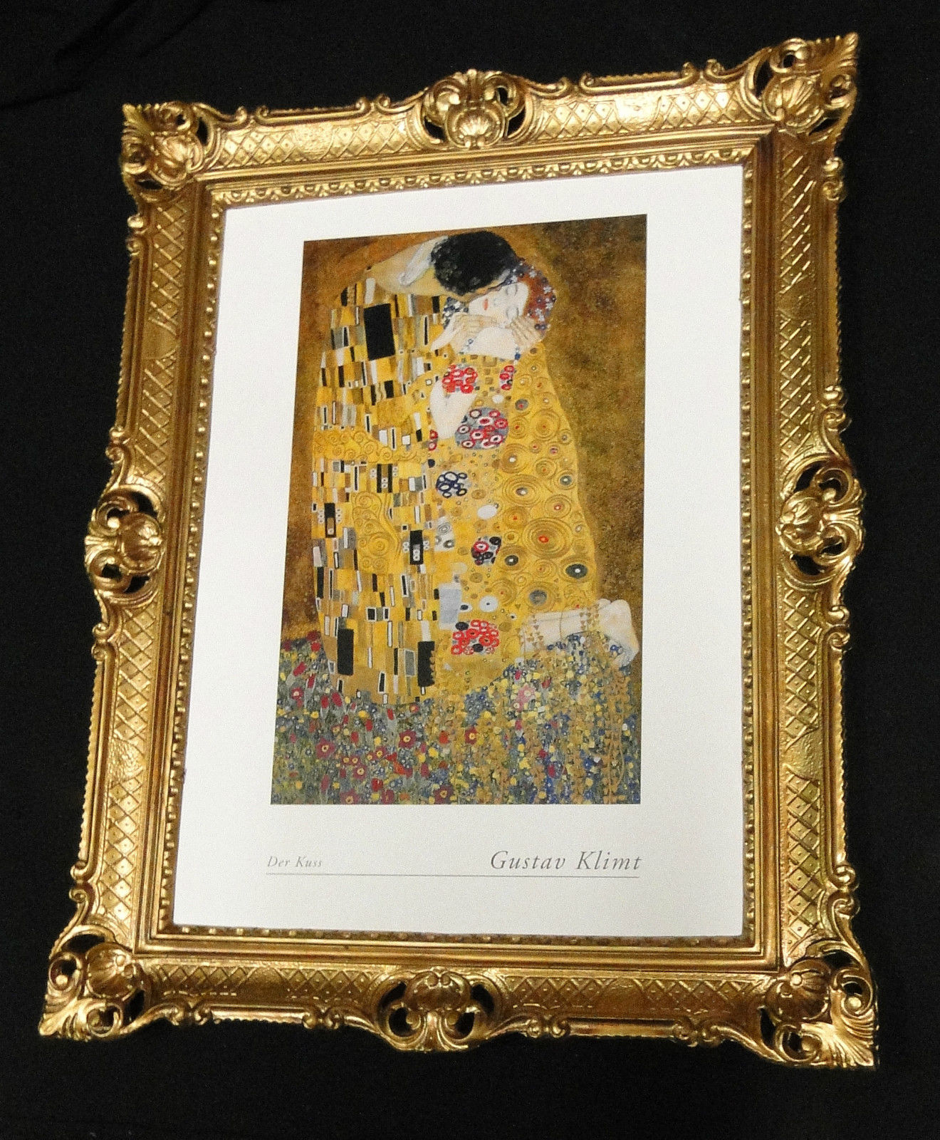 Gemälde Bild mit Rahmen xxl 90x70 Der Kuss von Gustav Klimt ...
