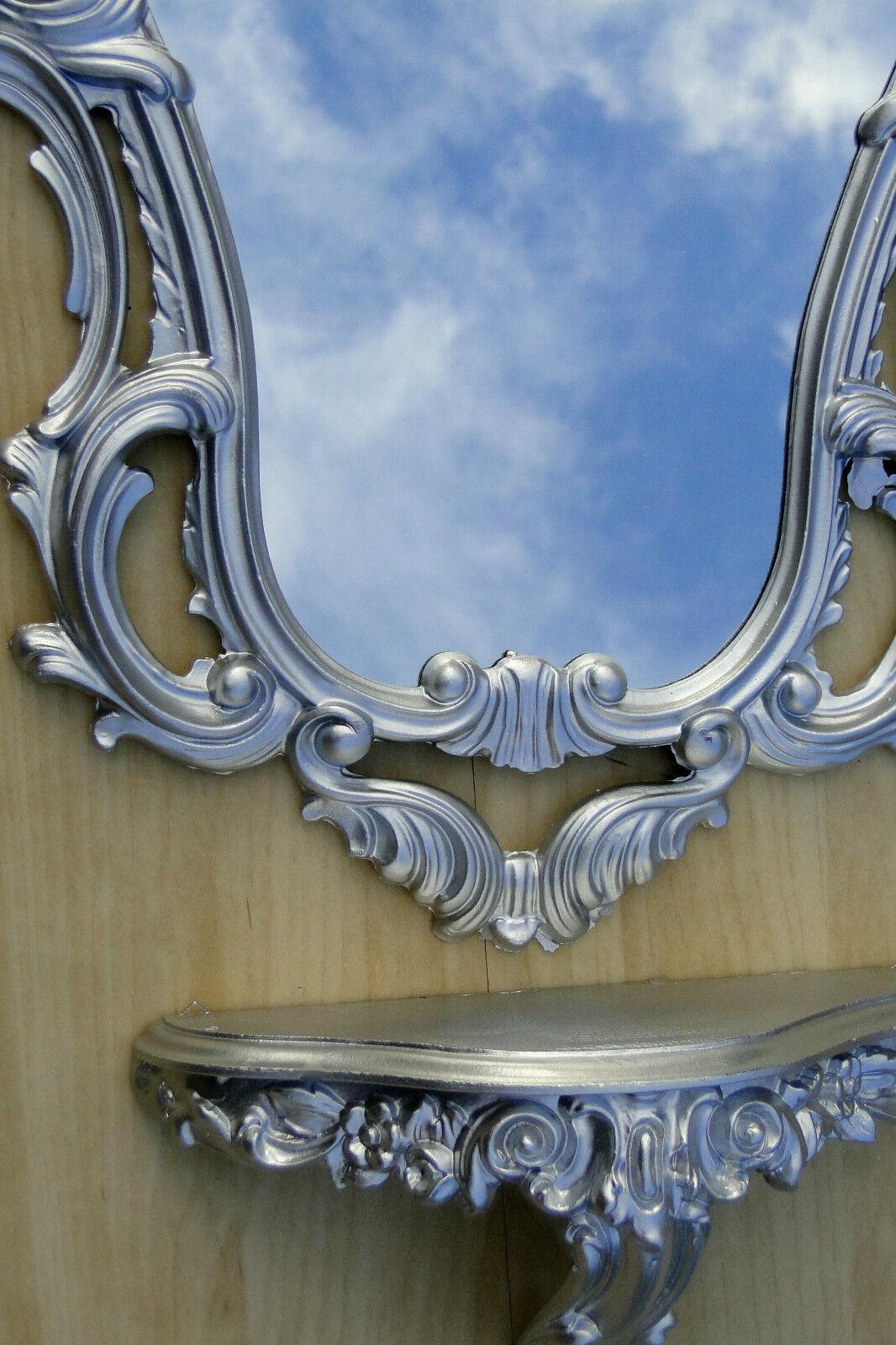 Wandspiegel Antik Silber mit Wandkonsole Antik 76x50 Wandregal Badspiegel Repro
