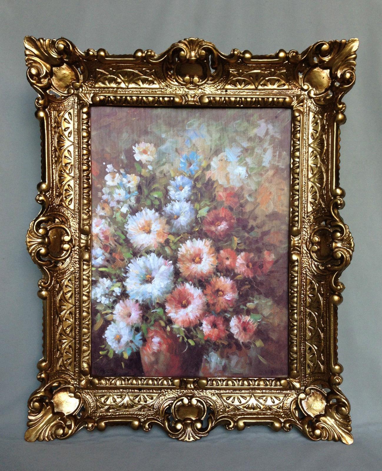 Gemälde Rosen mit Braune Vase Wandbild 57x47 Bild mit Rahmen Blumen ...