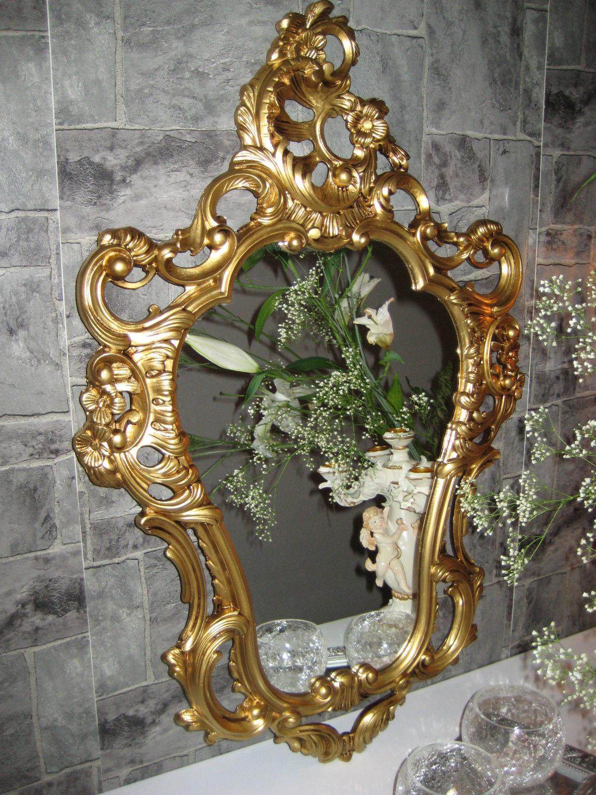 wandspiegel gold antik spiegel in jugendstil badspiegel barock 50x76 neu kaufen bei pintici. Black Bedroom Furniture Sets. Home Design Ideas