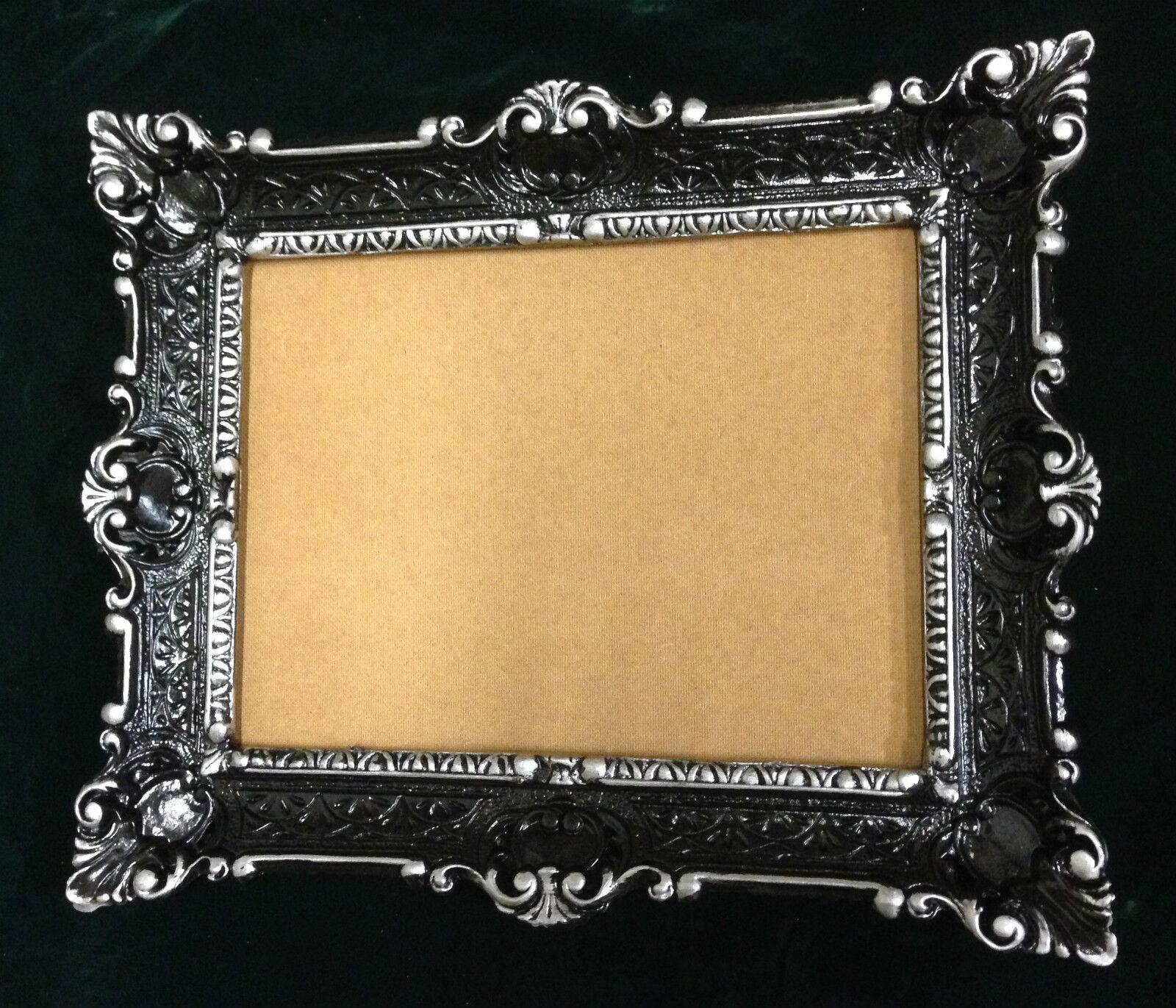 bilderrahmen schwarz-silber antik rechteckig 56x46 barock 30x40 mit