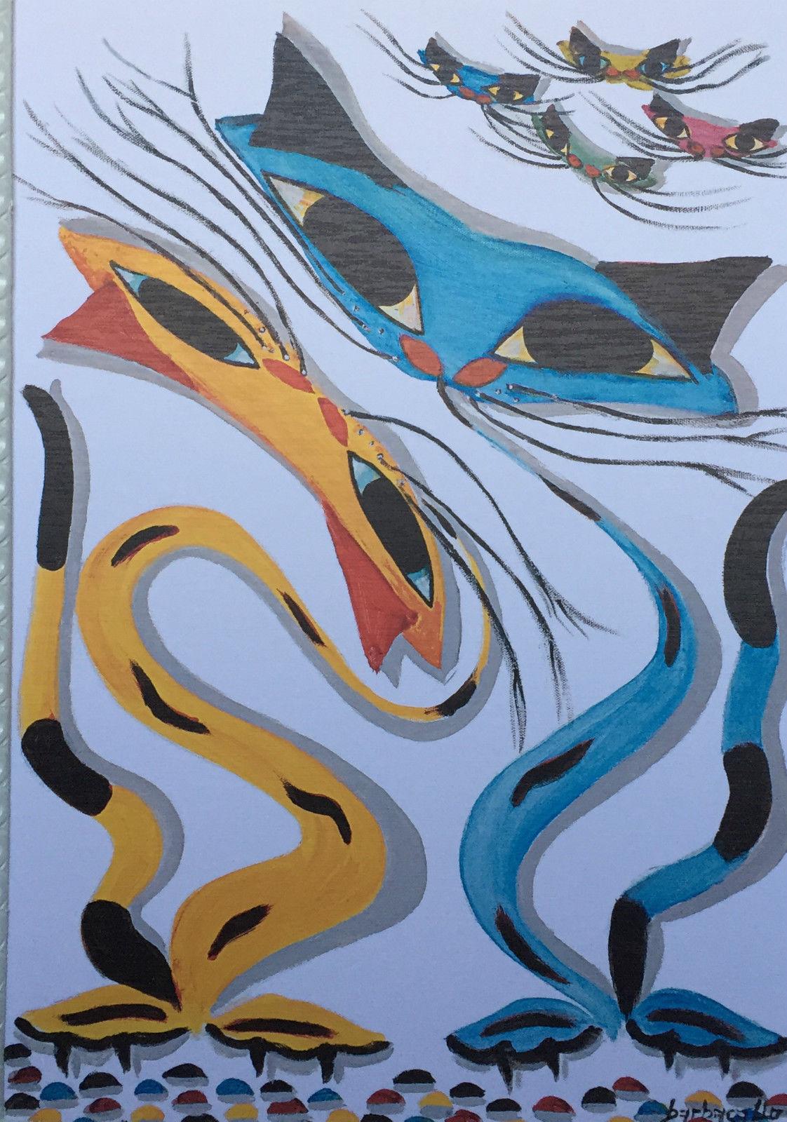 Gemälde Katzen Tiere Gerahmte Bild 90x70 Katzen - Kaufen bei Pintici ...