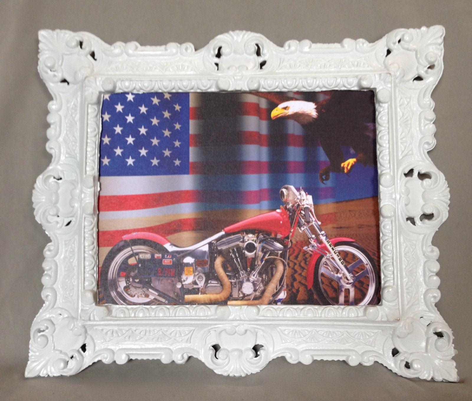 Motorrad Chopper ROT mit Rahmen Adler Fahne Harley 45x38 Oldtimer ...