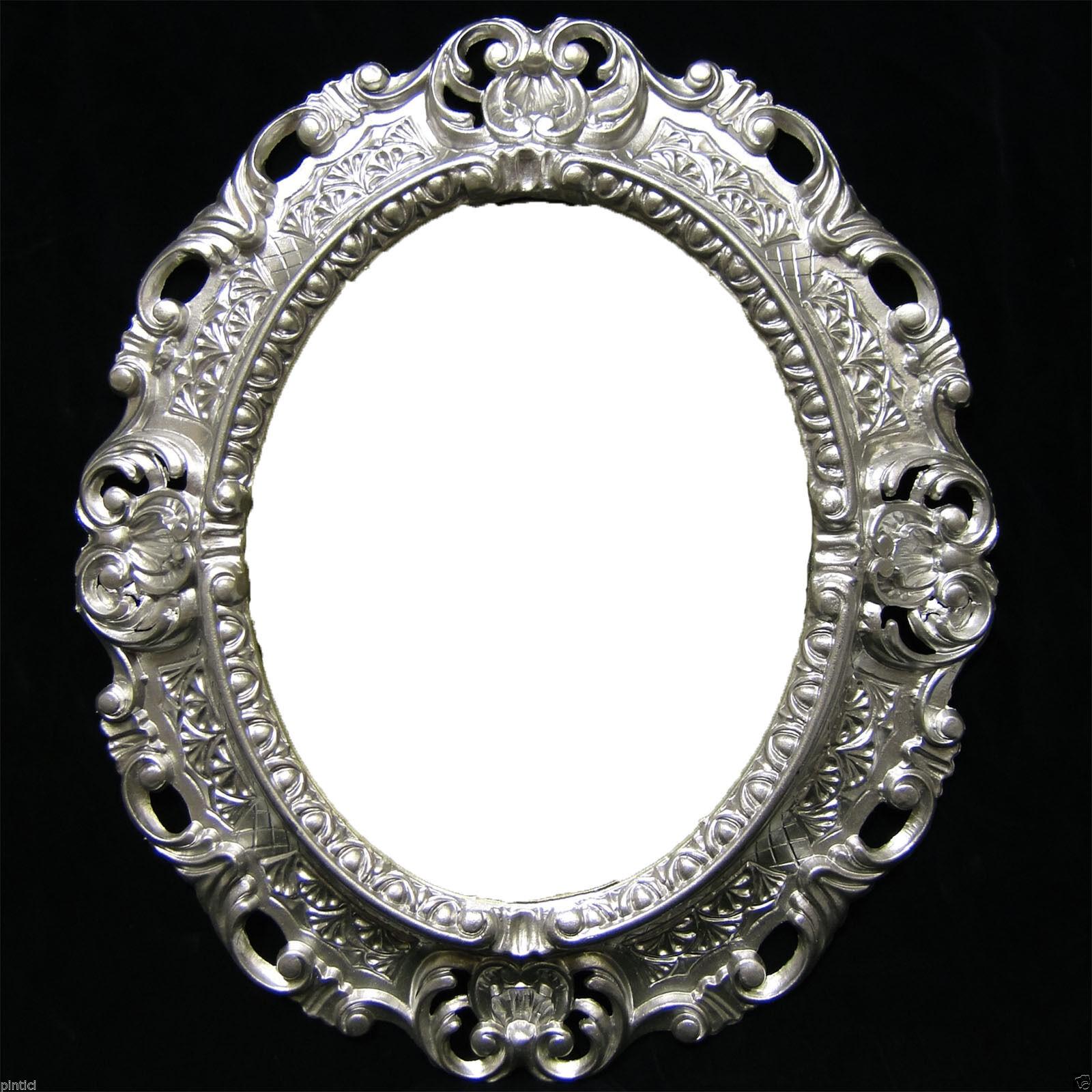 Wandspiegel Silber Barock Oval Spiegel Antik 45x38 Badspiegel Oval