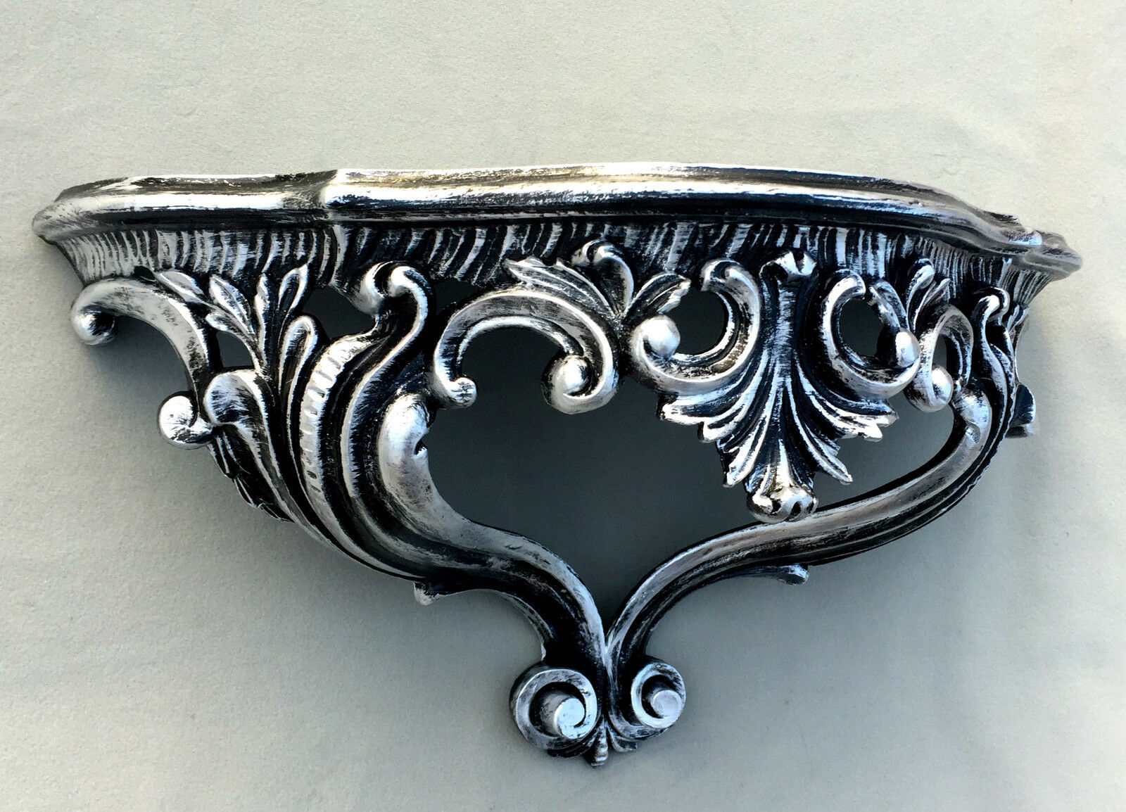 Wandkonsole Silber Barock 38x20 Spiegelkonsole//Wandregal ANTIK