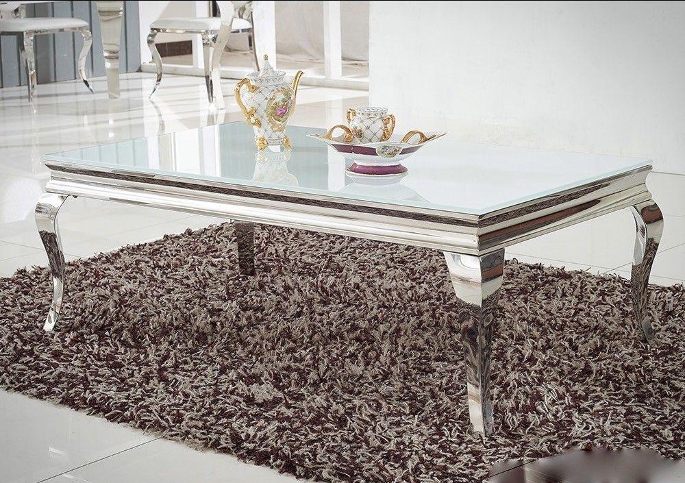 Couchtisch edelstahl glas wohnzimmertisch 130x70 cm for Beistelltisch glas edelstahl
