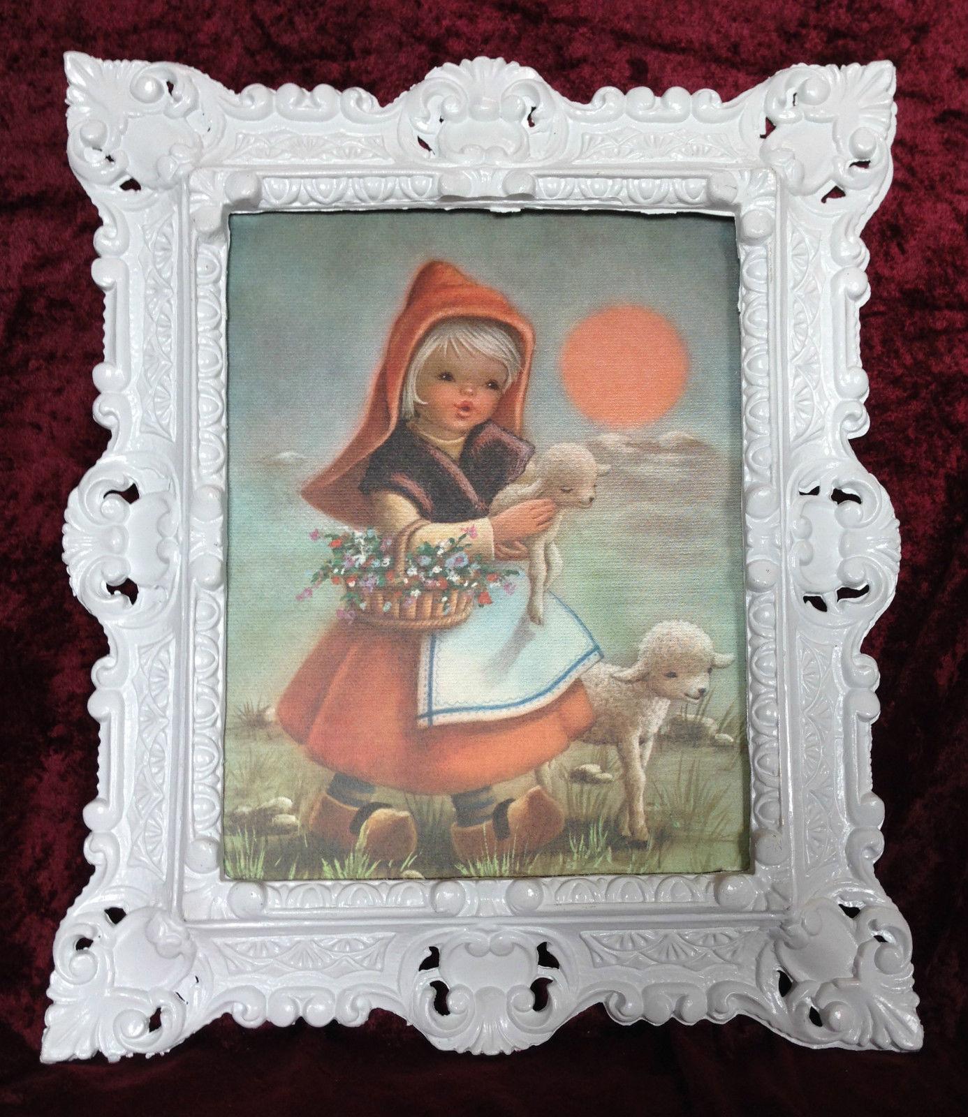 Bild Rahmen Gold Rotkäppchen Schaf Kind Wandbild Gemälde Mädchen ...