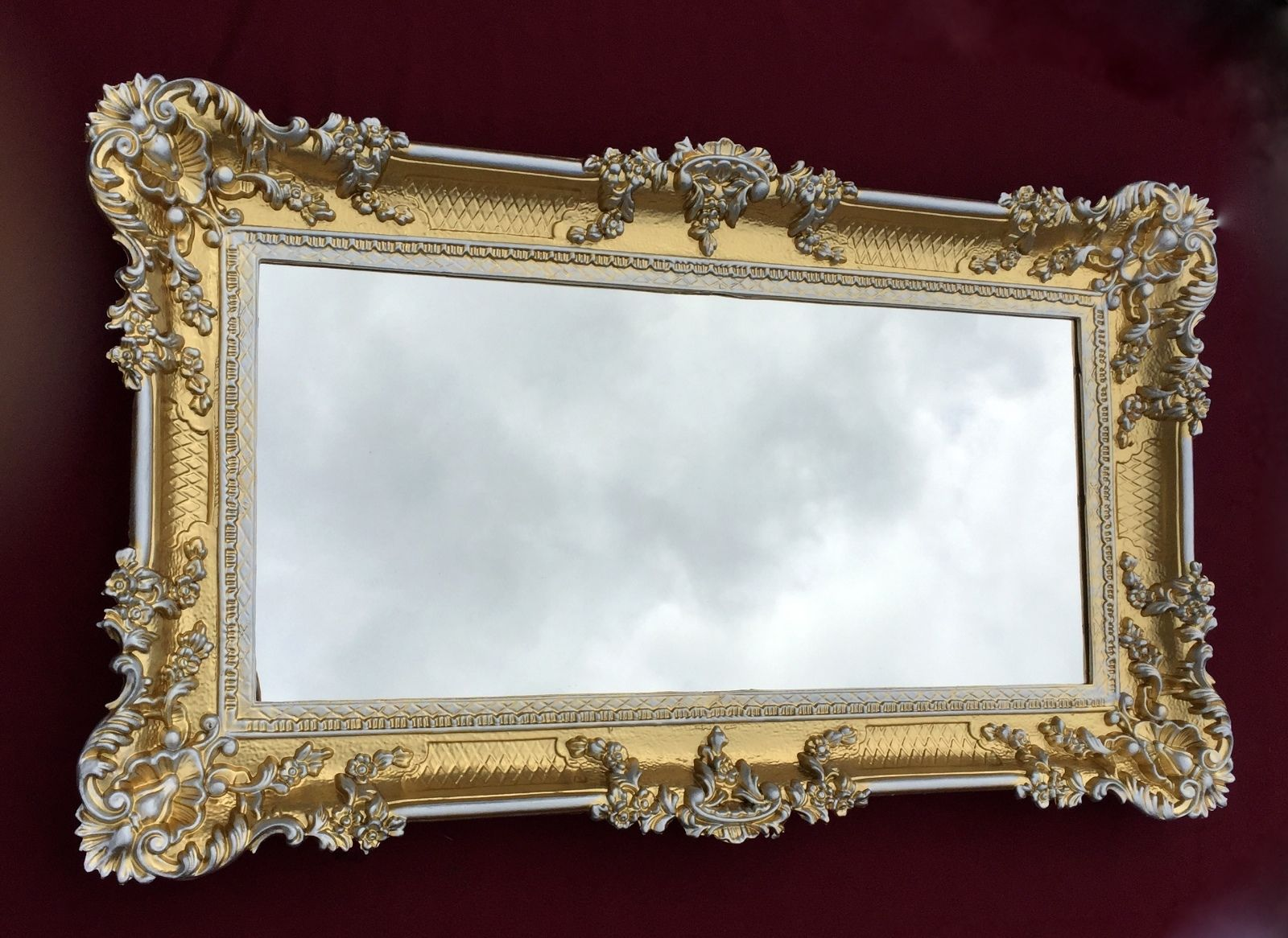 wandspiegel barock gold silber spiegel antik 97x57 badspiegel rechteckig 3074 kaufen bei. Black Bedroom Furniture Sets. Home Design Ideas