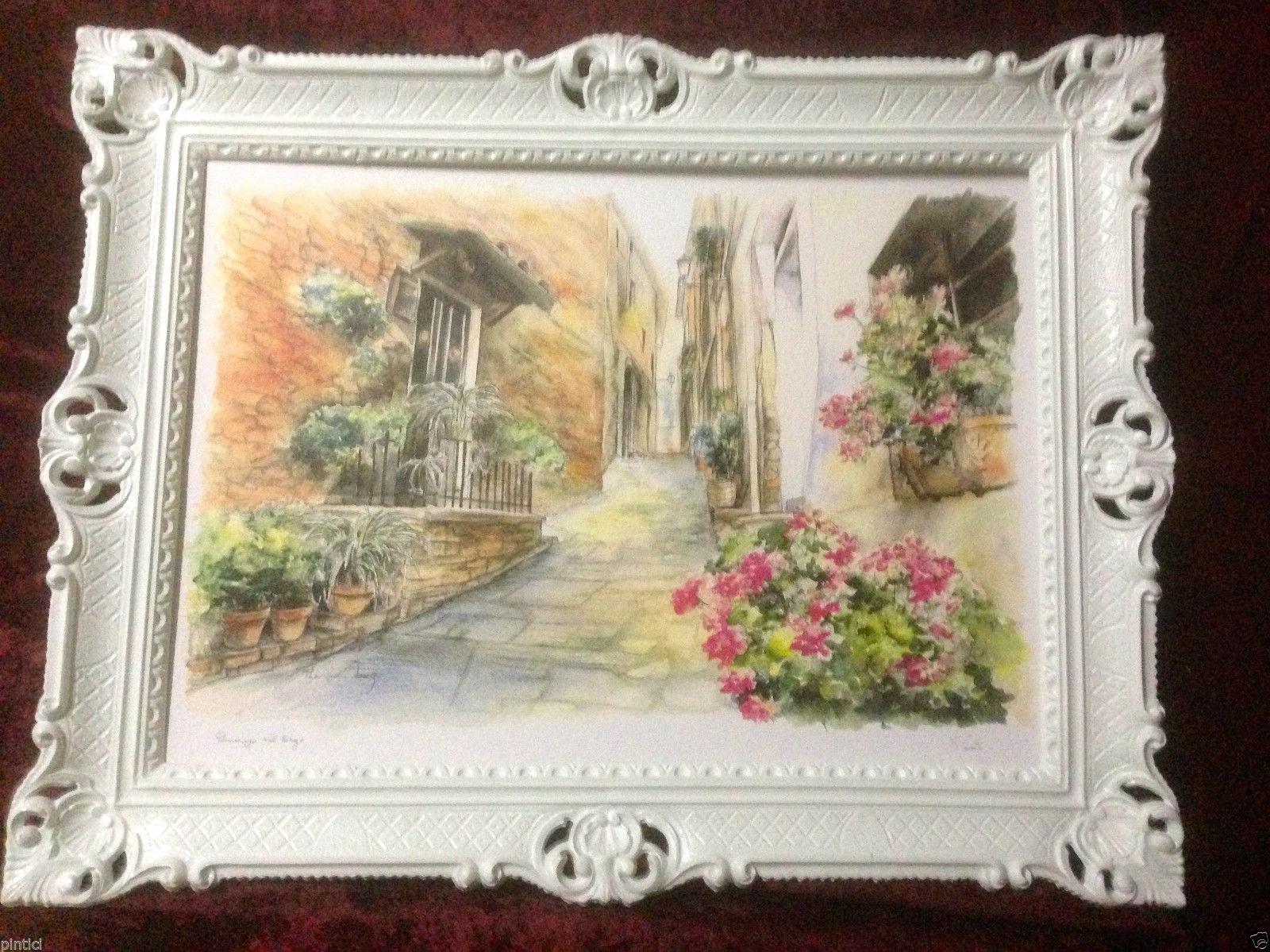 Gerahmte Gemälde Weiß Sizilien Blumen 90X70 Landschaftsbild Weiß ...