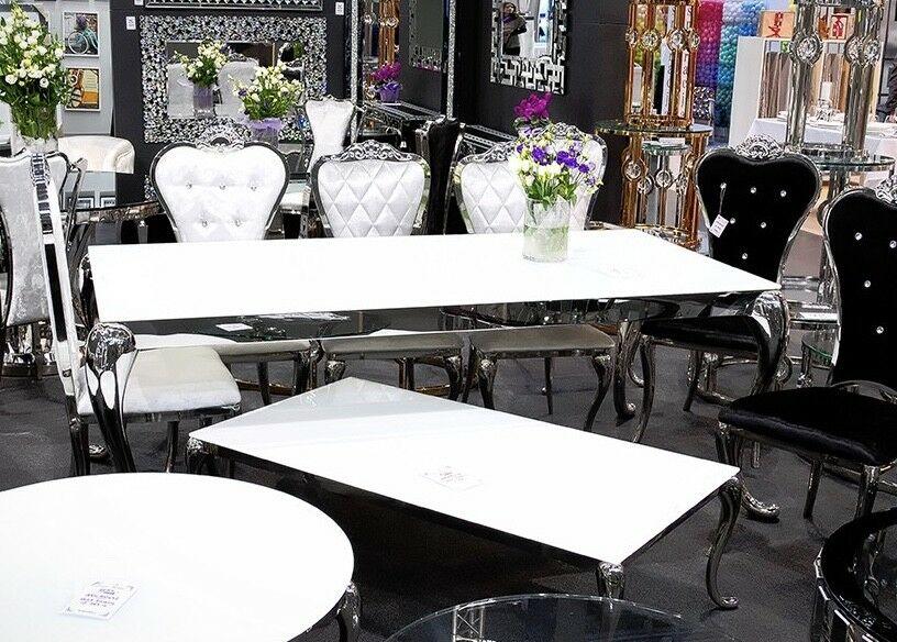 Esstisch edelstahl glas wohnzimmertisch 200x100x76 cm for Designer tisch glas
