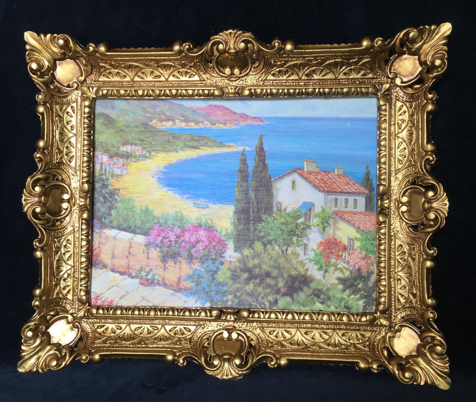 landschaftsbild haus am see blick wandbild mit rahmen 57x47 kunstdruck baum kaufen bei pintici. Black Bedroom Furniture Sets. Home Design Ideas