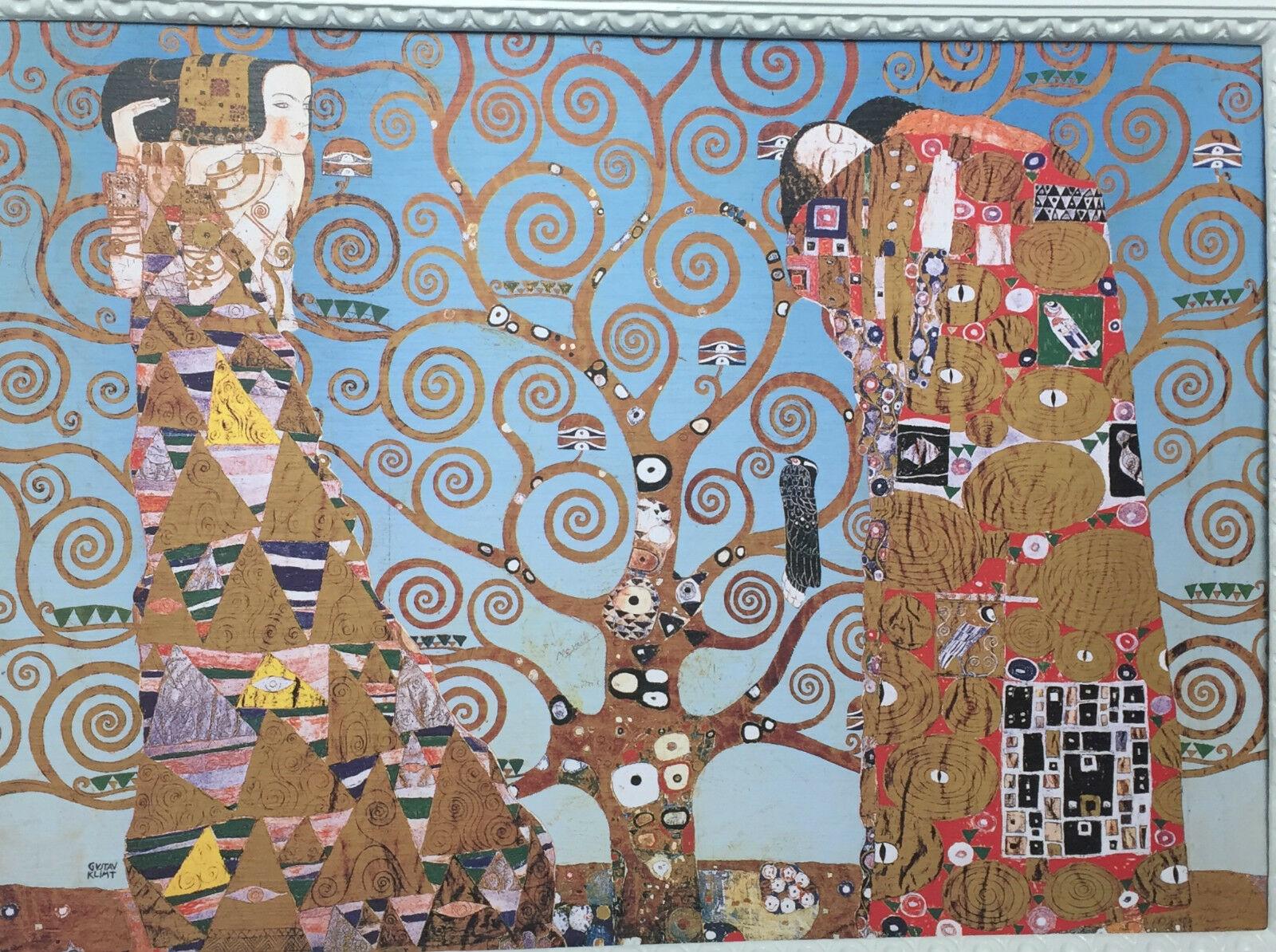 wandbild der kuss bild lebensbaum 50x70 bild auf mdf platte gem lde gustav klimt kaufen bei. Black Bedroom Furniture Sets. Home Design Ideas