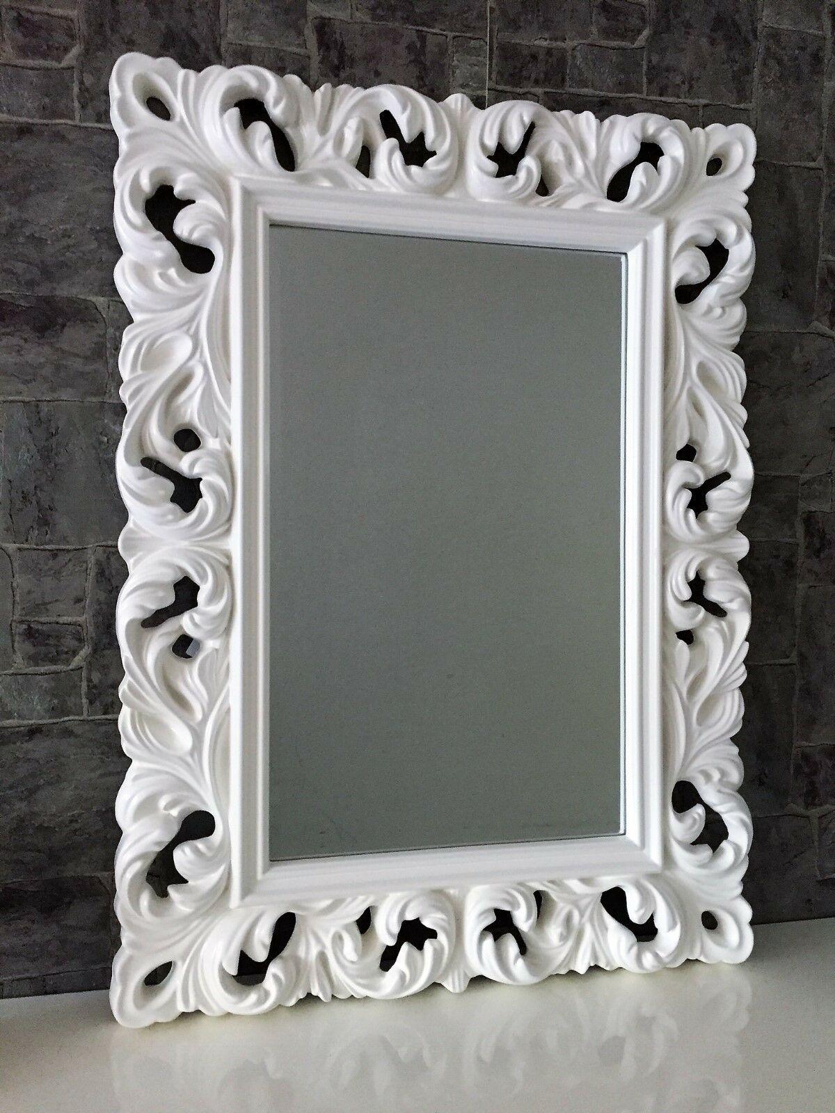 Großer Barock Wandspiegel Ornament 62x85 Standspiegel Spiegel Weiss