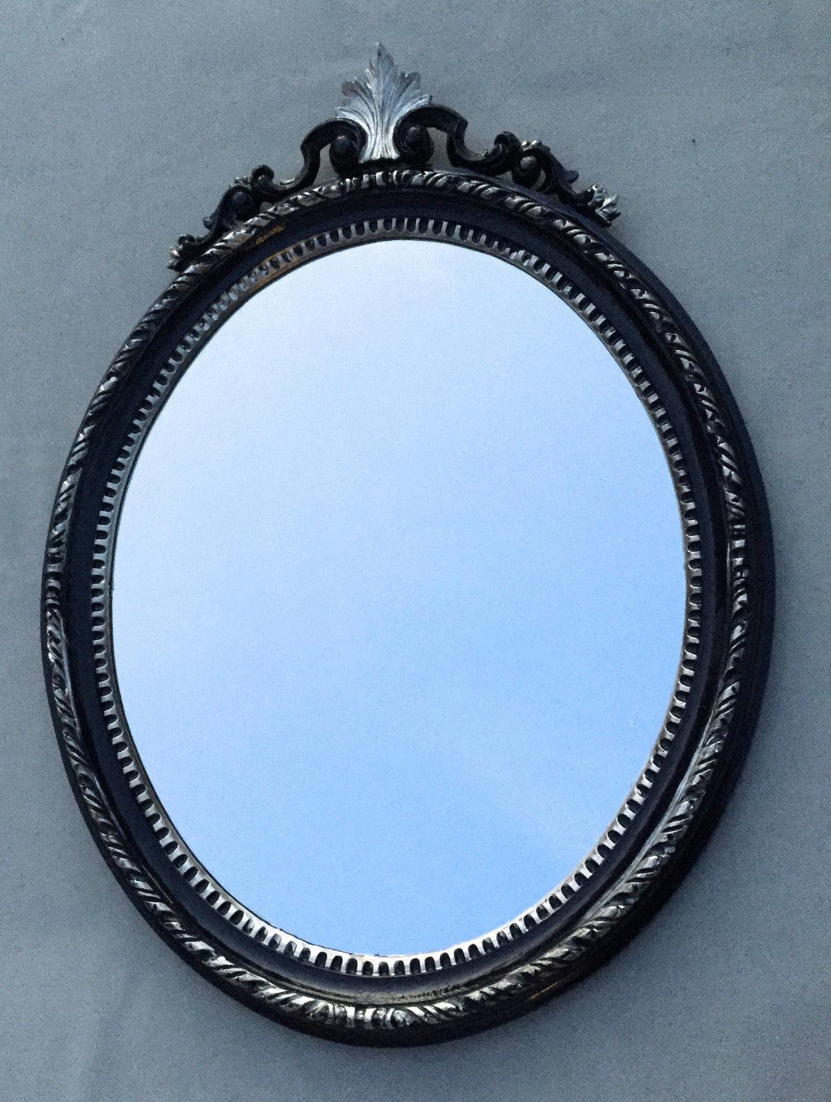 Wandspiegel Oval Antik Schwarz Silber Barock Spiegel 51X37 Mirror ...