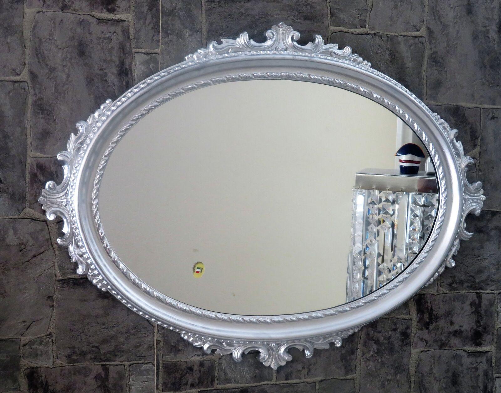 Wandspiegel Silber Oval Barock Badspiegel Spiegel Antik 62x48cm