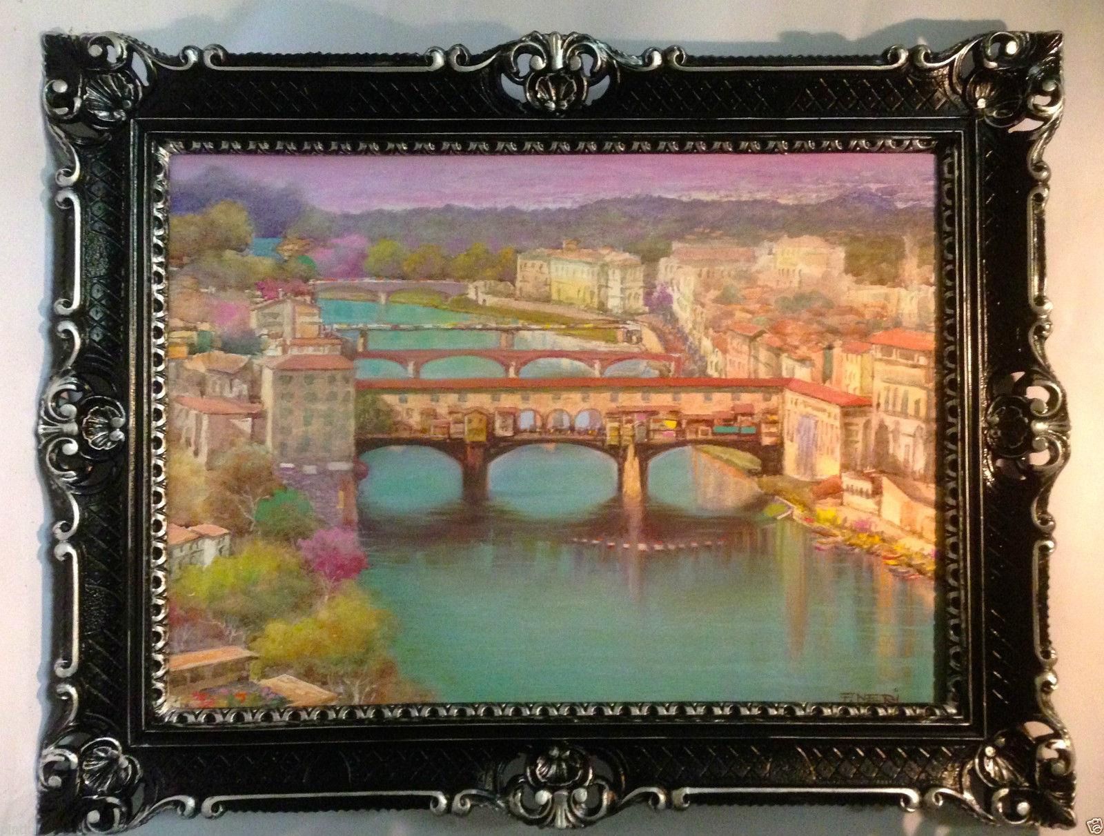 Gemälde Ponte Vecchio Brücke Florenz Aquarell 90x70 Bild mit Rahmen ...