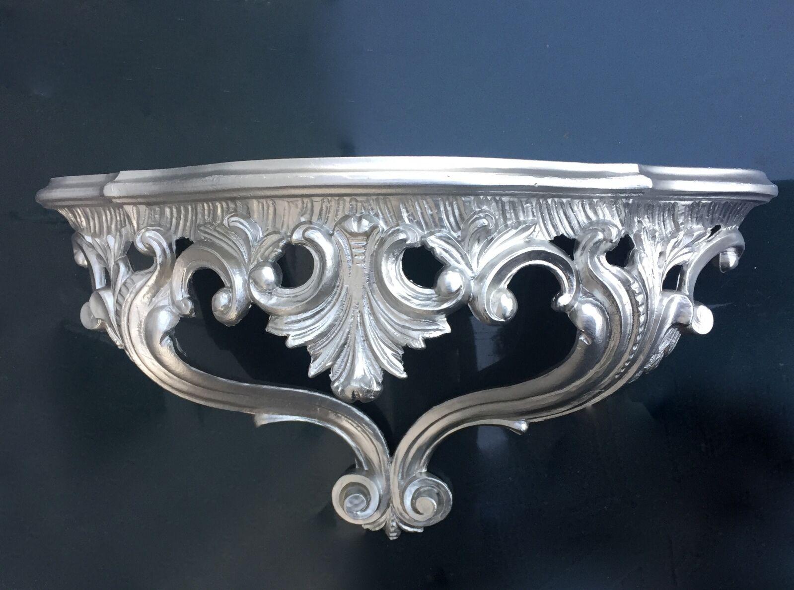 Wandkonsole Antik Silber Barock 38x20 Altsiber Spiegelkonsole
