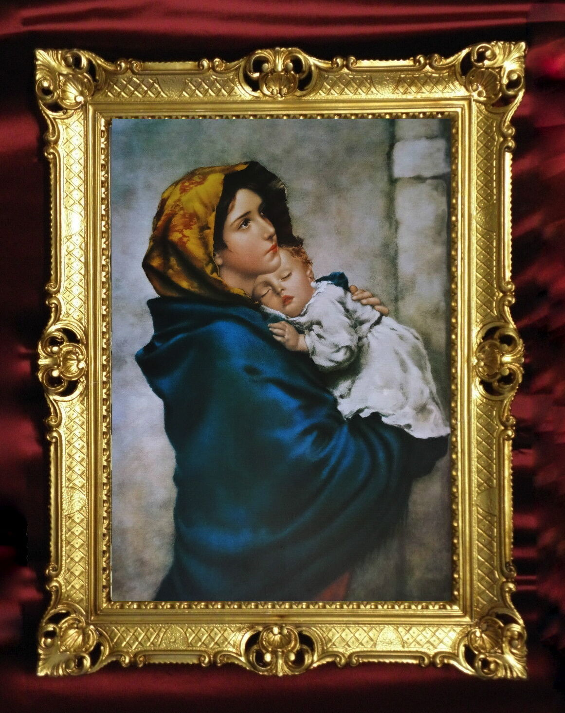bild mit rahmen gem lde heilige mutter maria kind 90x70 christliche wandbilder kaufen bei. Black Bedroom Furniture Sets. Home Design Ideas