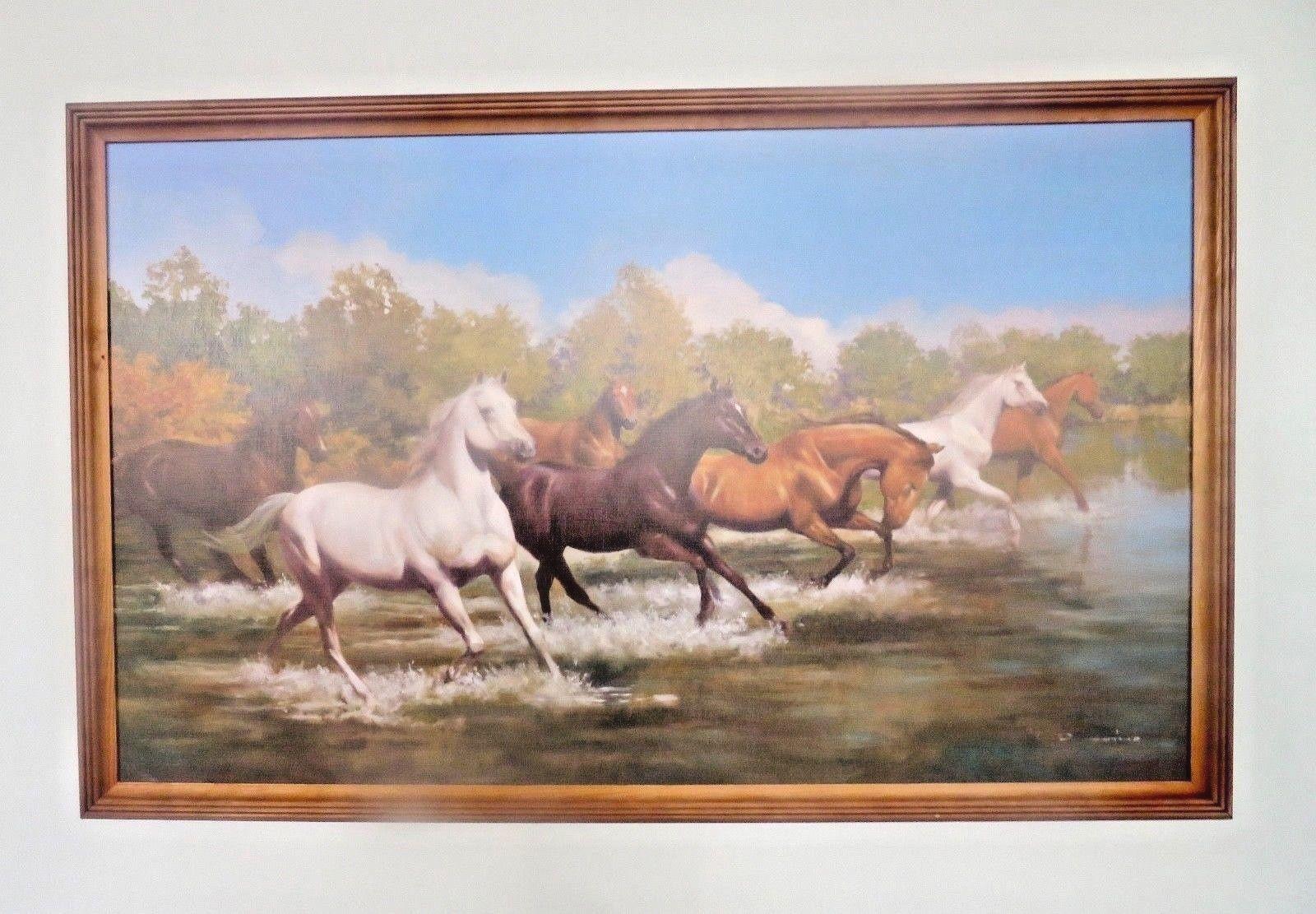Pferde Bild gerahmte Gemälde 105x66 Kunstdruck Bild mit Holzrahmen ...