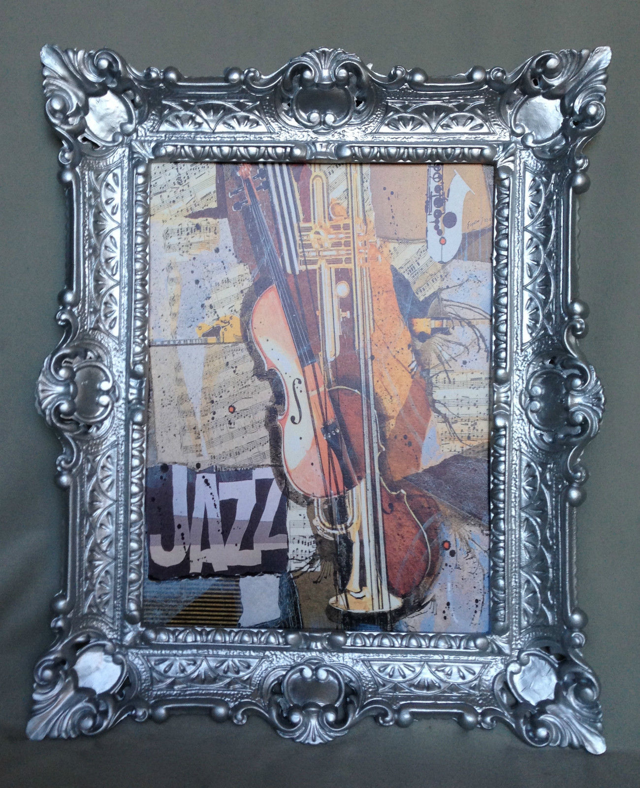 Bild mit Rahmen Gerahmte Gemälde 57x47 JAZZ GEIGE Trompete Music ...