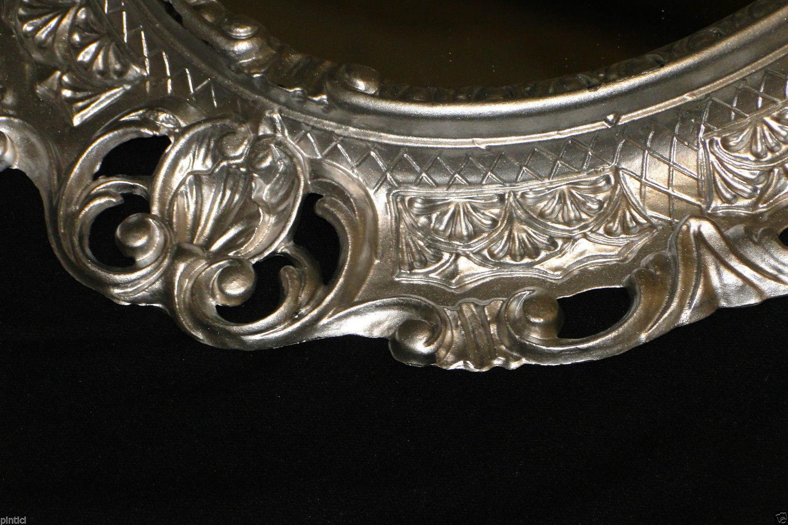 BILDERRAHMEN Silber Antik Oval Fotorahmen barock Jugendstil 45X37 ...