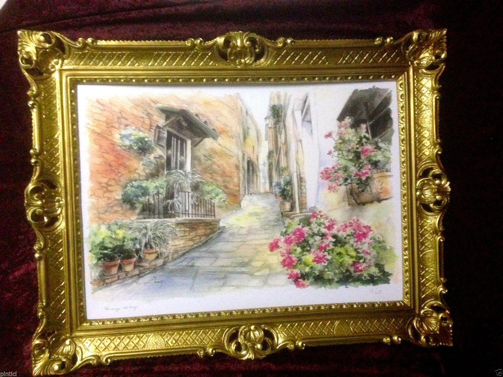 Bild mit Rahmen Blumen Landschaft Antik BILDER WANDBILD 90x70cm ...