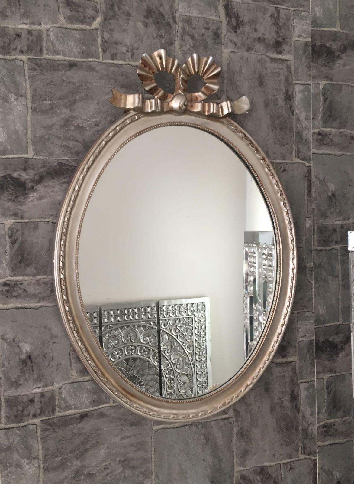 wandspiegel oval silber barock 58 x 42 schleife wanddeko antik badspiegel shabby kaufen bei. Black Bedroom Furniture Sets. Home Design Ideas