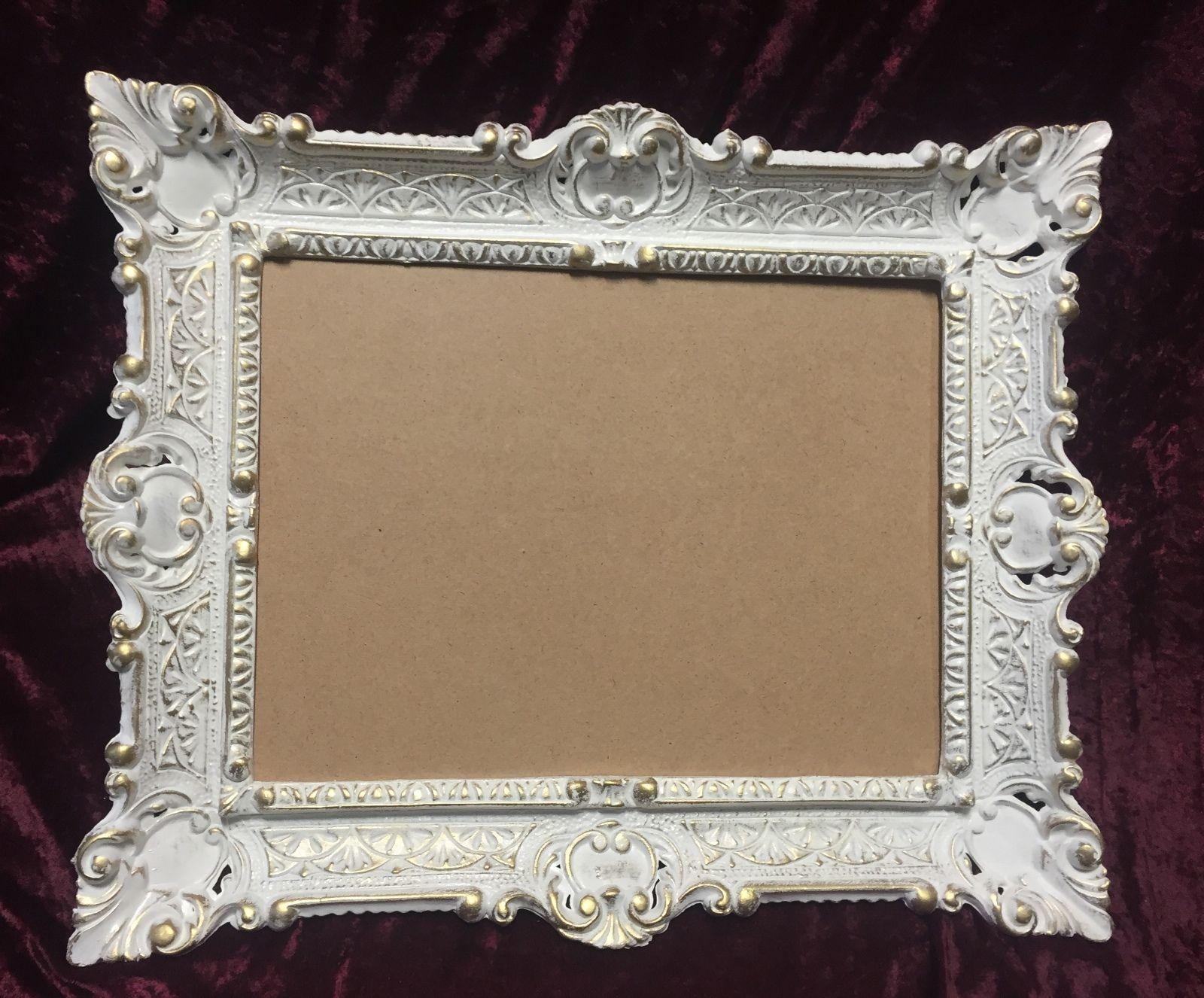 Bilderrahmen Weiß-Gold mit Glas Antik Rechteckig 56x46 Barock 30x40 ...