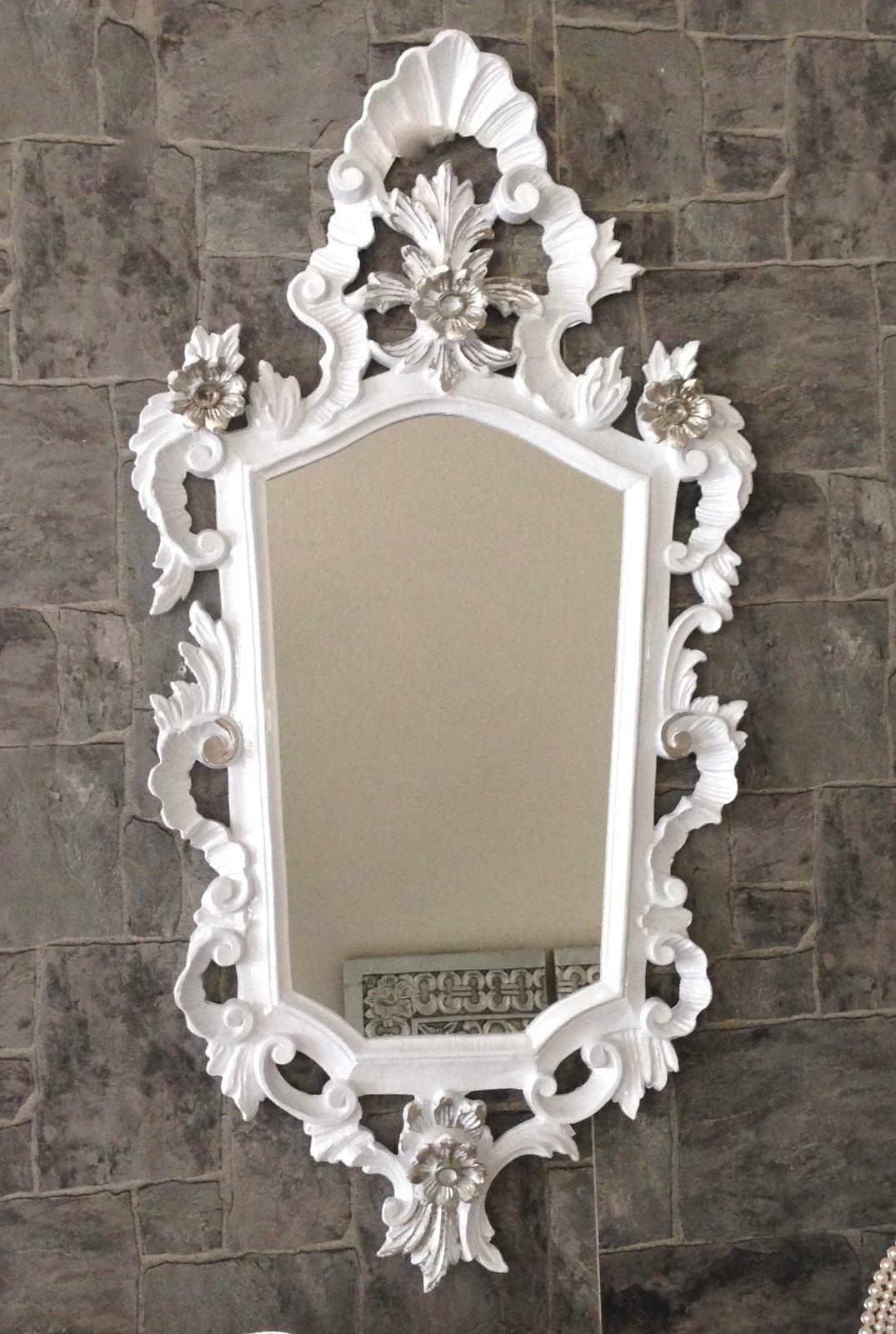 Wandspiegel Barock Weiss Silber Spiegel Antik Badspiegel Barspiegel