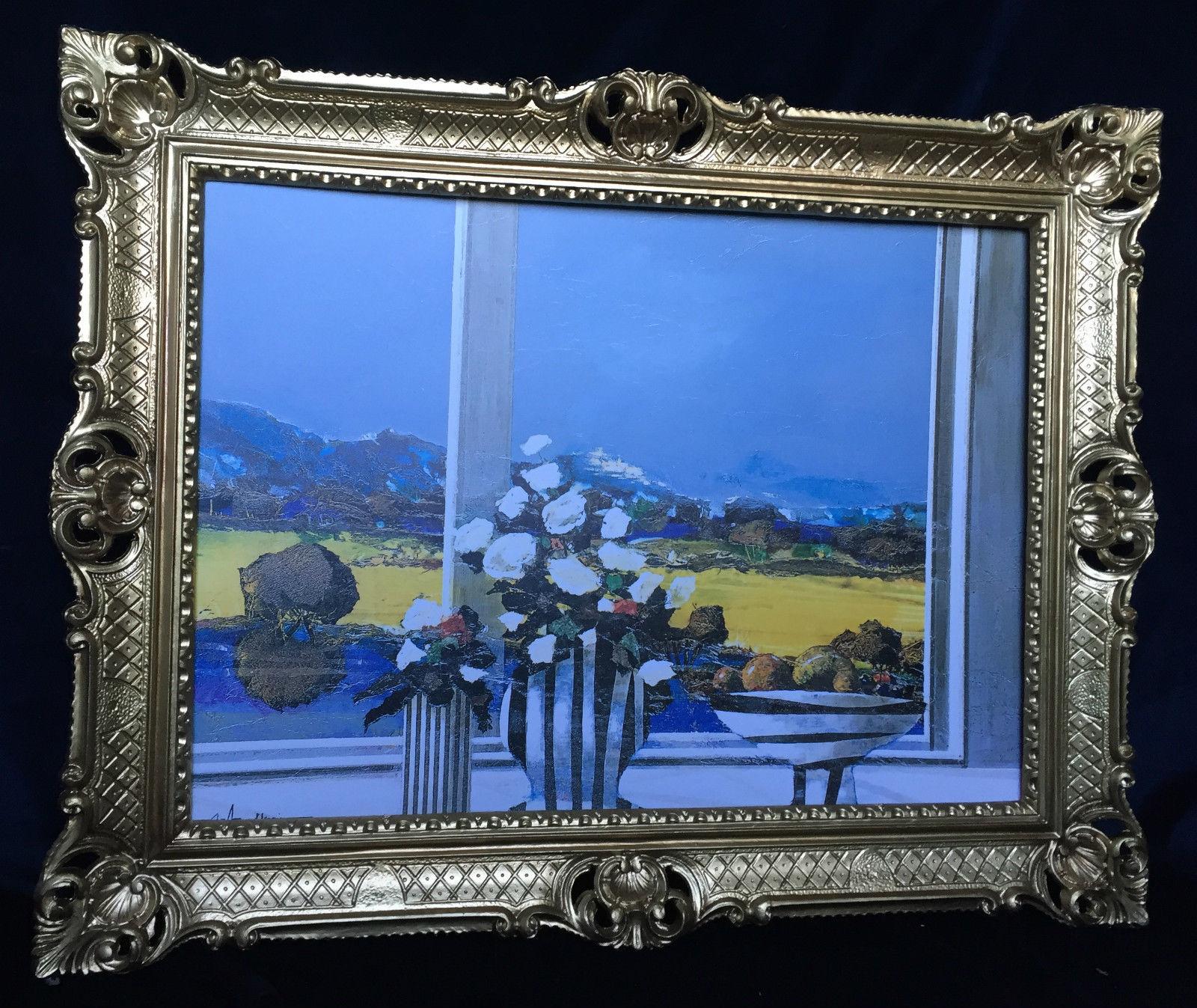Gemälde Landschaftsbild 90x70 Blumen Bild gerahmte Gemälde B16 ...