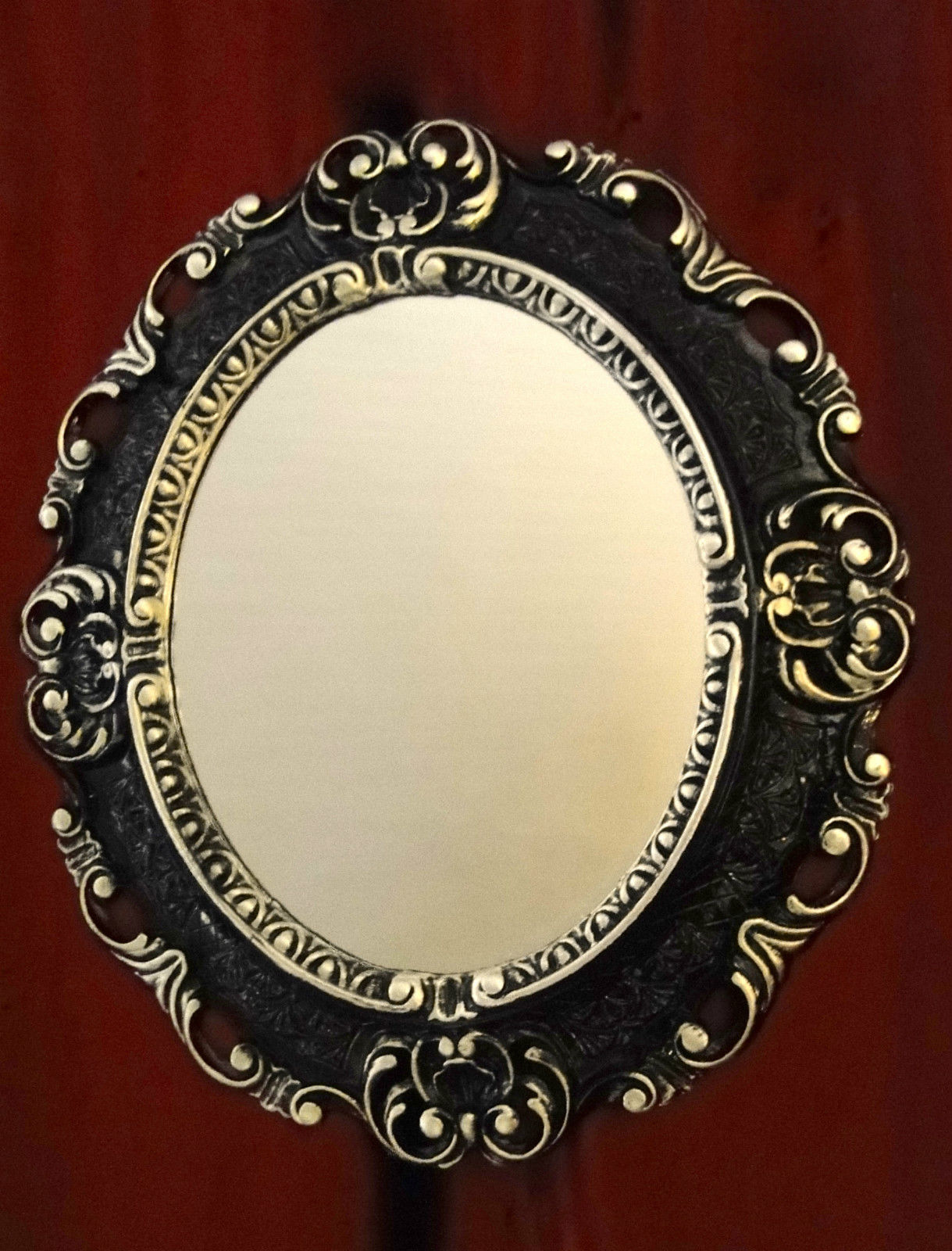 Wandspiegel Oval Antik Spiegel Schwarz Silber Barock Badspiegel ...