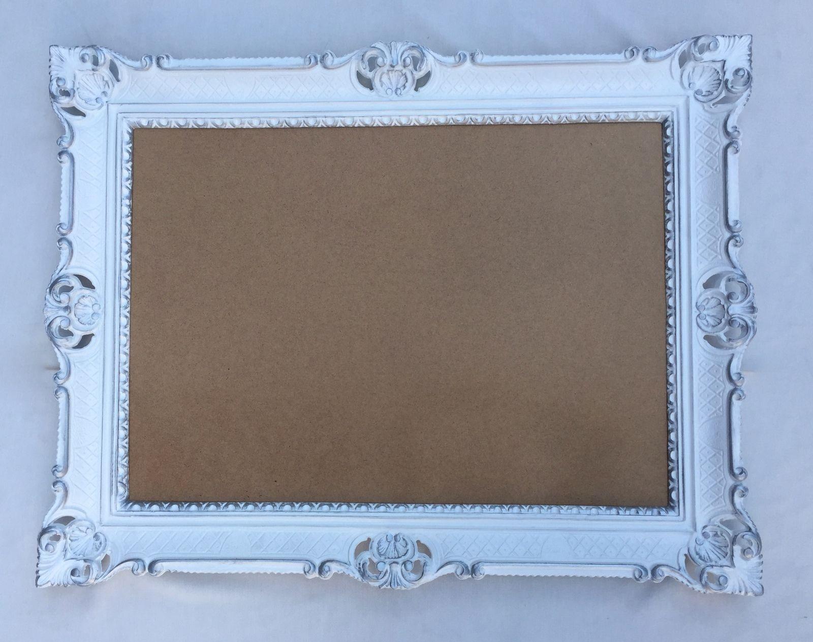 Bilderrahmen 70x90 Rahmen BAROCK Rechteckig Antik Weiß Silber ...