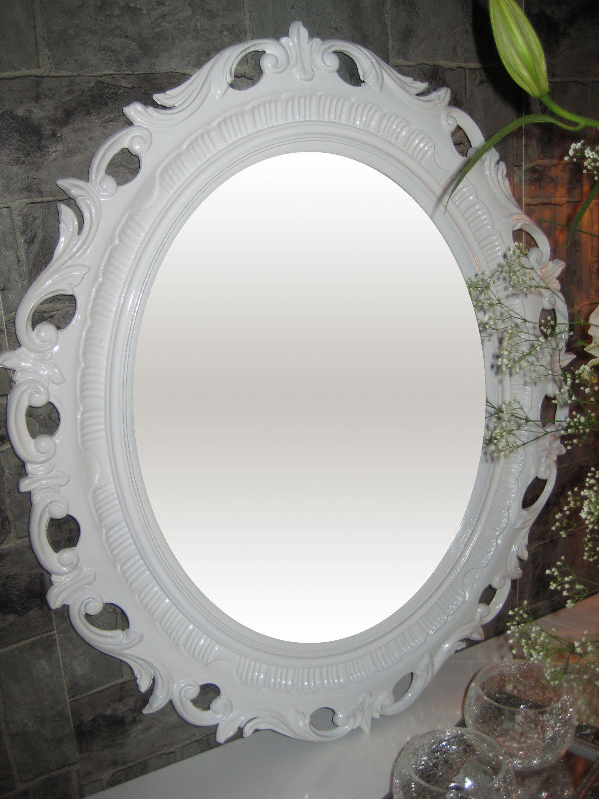 Wandspiegel Weiß Shabby Oval Badspiegel Barock ANTIK BILDERRAHMEN ...