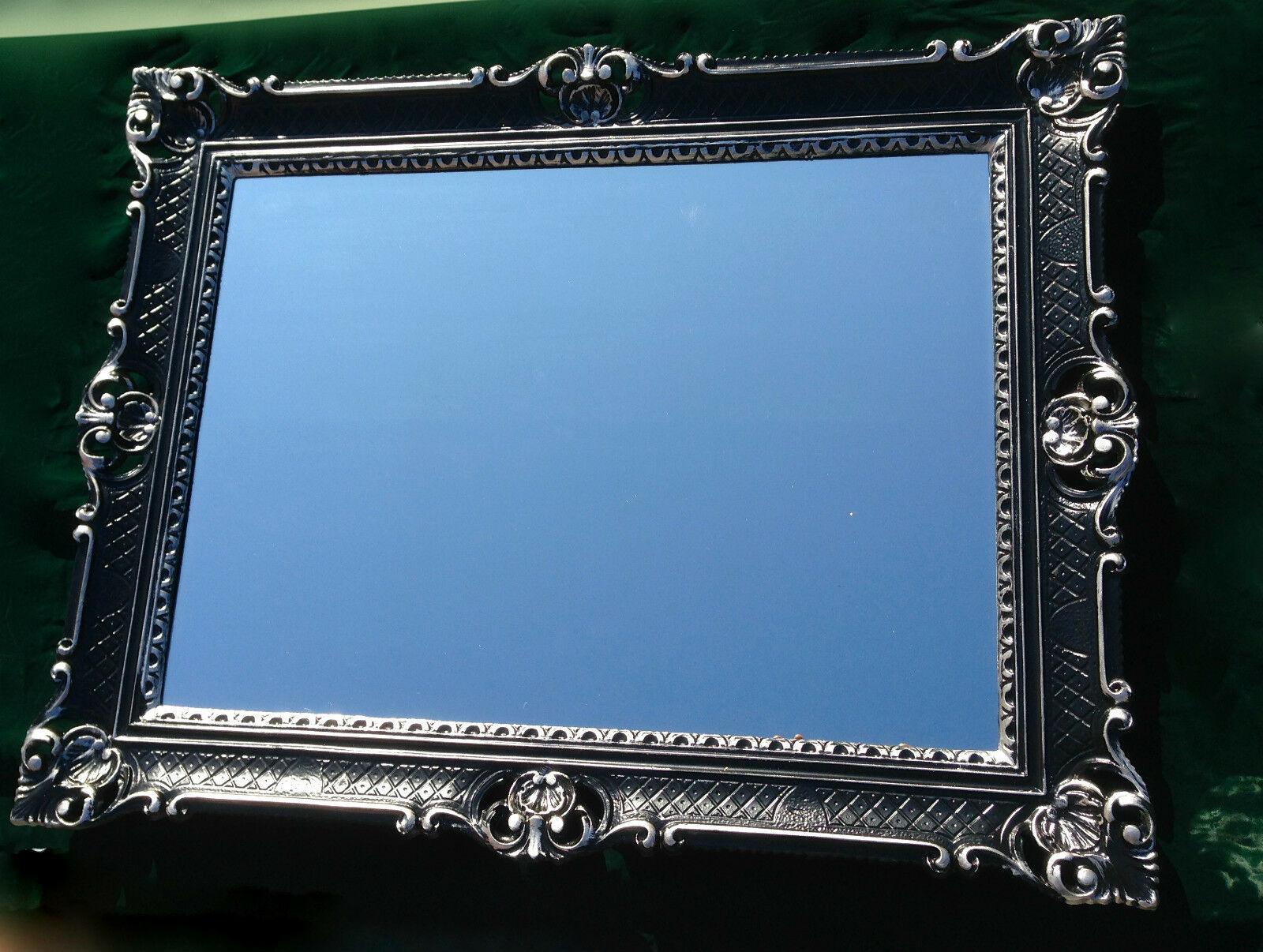 wandspiegel barock gro er spiegel schwarz silber hochglanz 90x70 rahmen antik kaufen bei. Black Bedroom Furniture Sets. Home Design Ideas
