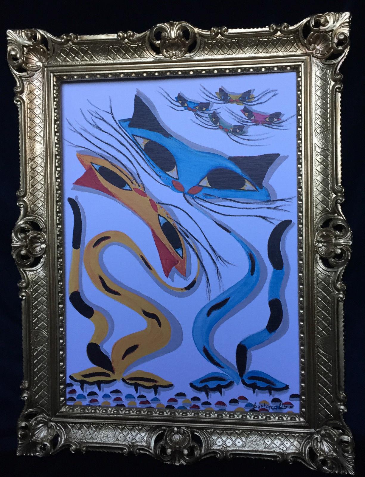 Gemälde Katzen Bild mit Rahmen Tiere Gerahmte Bild 90x70 Katzen ...
