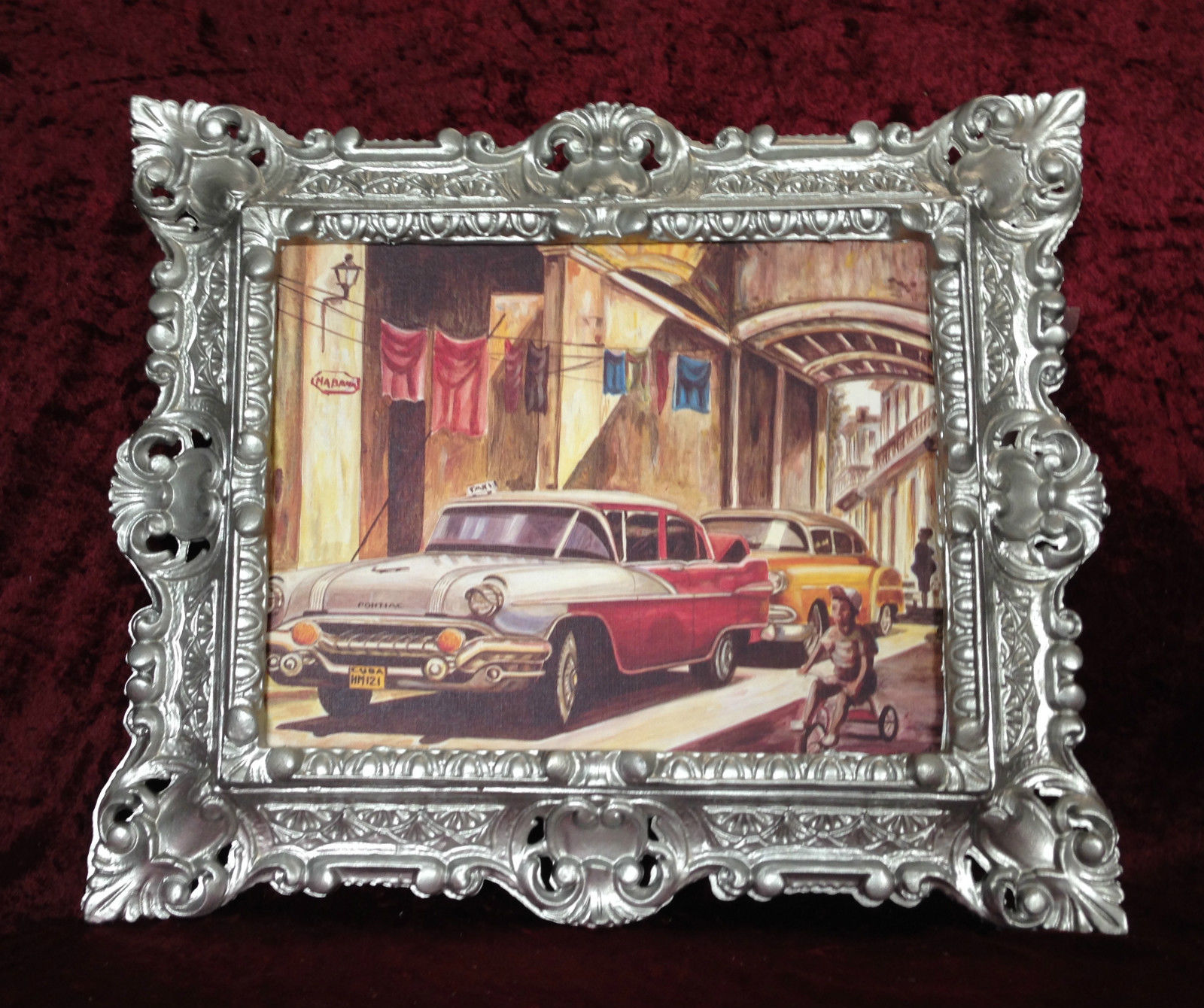 Auto Cuba Rot Bild Rahmen Silber Wandbild 45x38 Oldtimer Classic ...