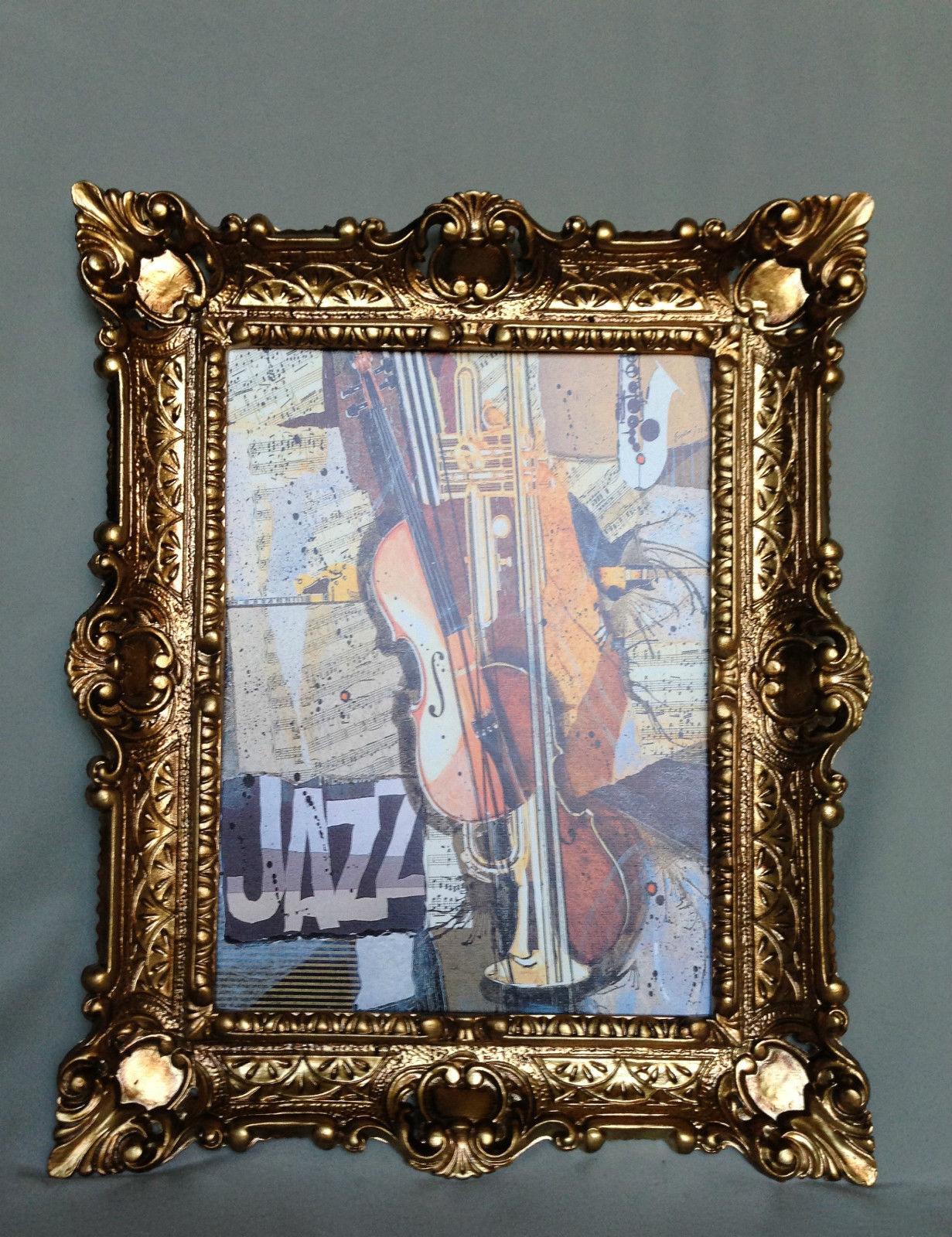 Bild mit Rahmen Gerahmte Gemälde 57x47 GEIGE JAZZ Music Instrumente ...
