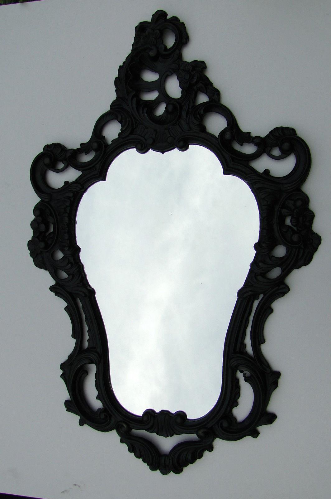 wandspiegel schwarz barock spiegel oval 50x76 antik bad. Black Bedroom Furniture Sets. Home Design Ideas