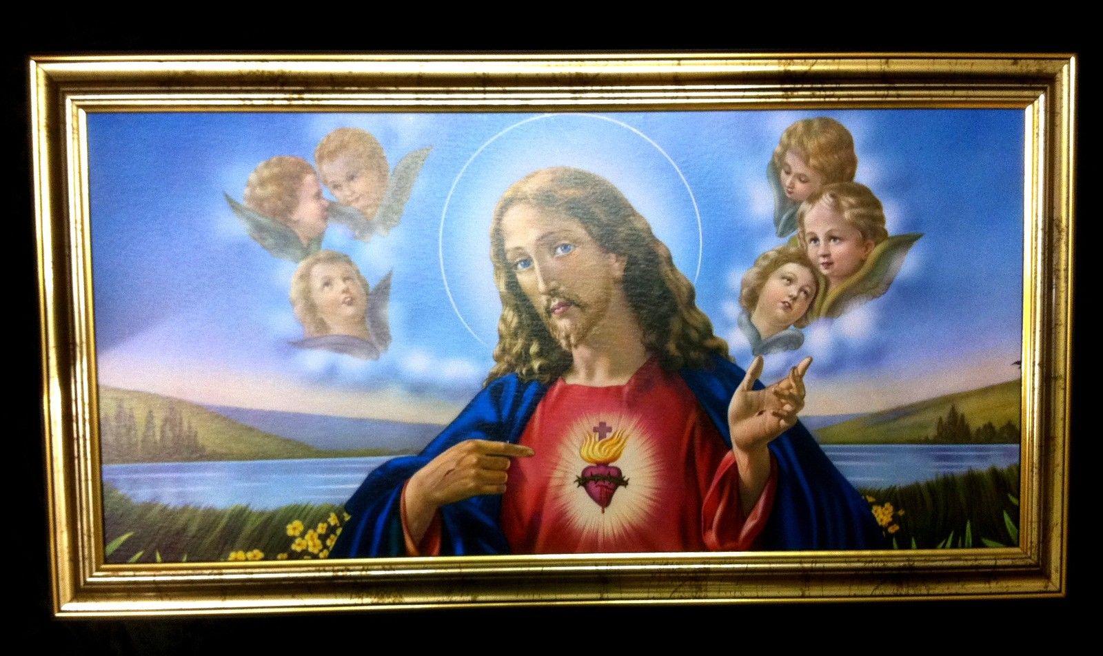 Bilder Gerahmte Gemälde mit Rahmen Bild mit Rahmen 77x42 Jesus ...