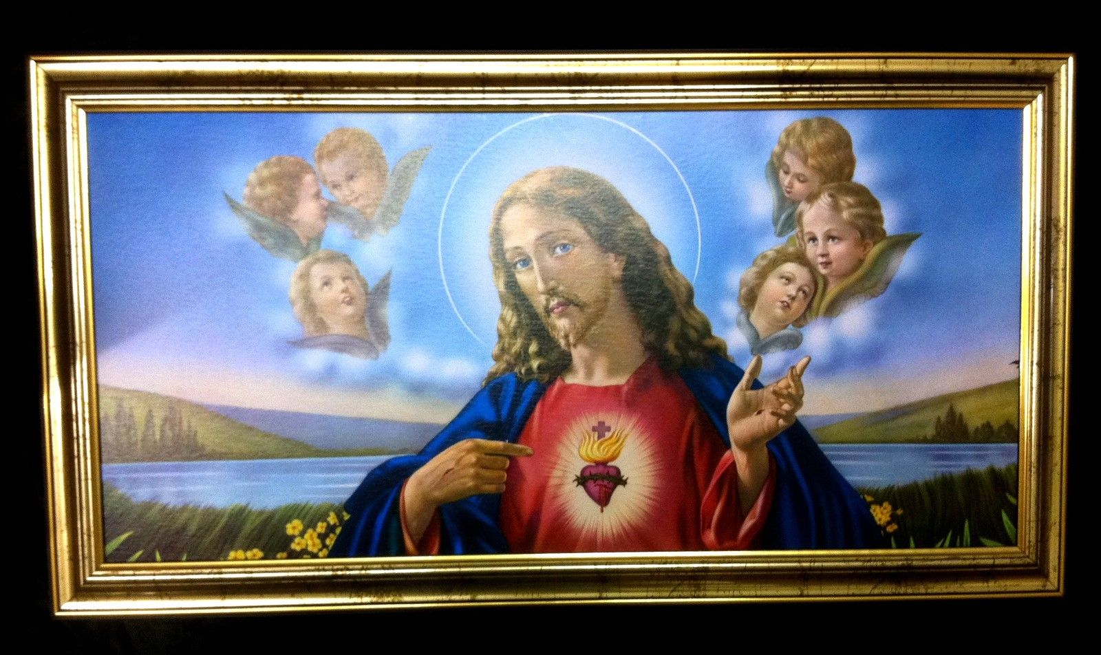 Gerahmte Gemälde Bilder Rahmen 77x42 Jesus Christus Ikonen - Kaufen ...