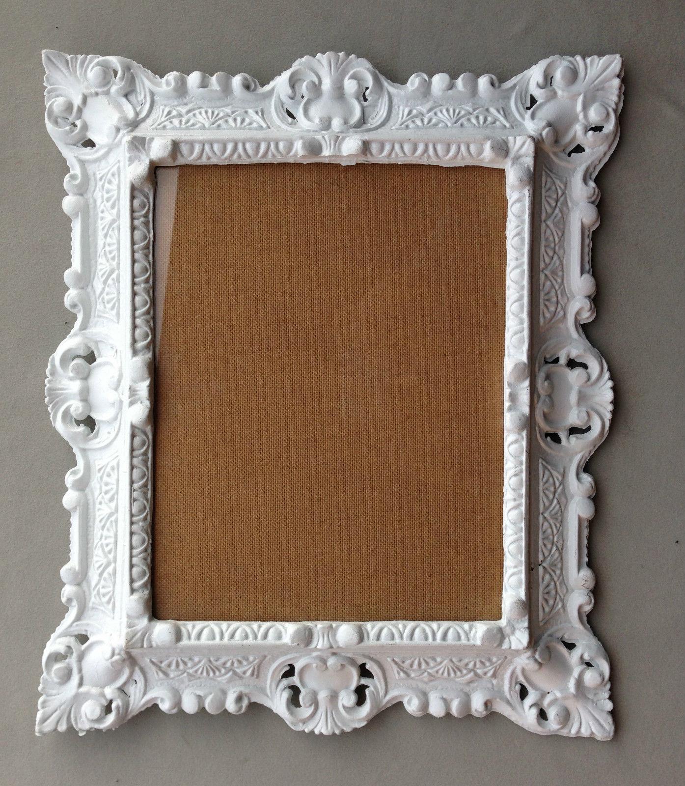 Bilderrahmen Weiß mit Glas Rechteckig Barock Rahmen Antik 44x38 ...