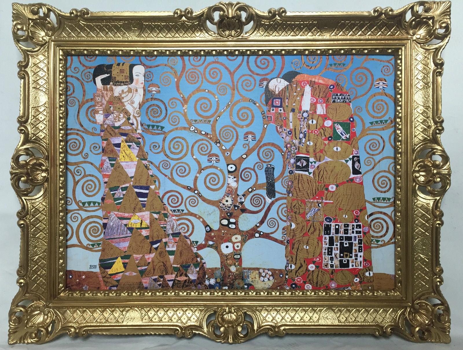 Bild mit Rahmen Gustav Klimt The Kiss Lebensbaum WANDBILD 90x70 ...